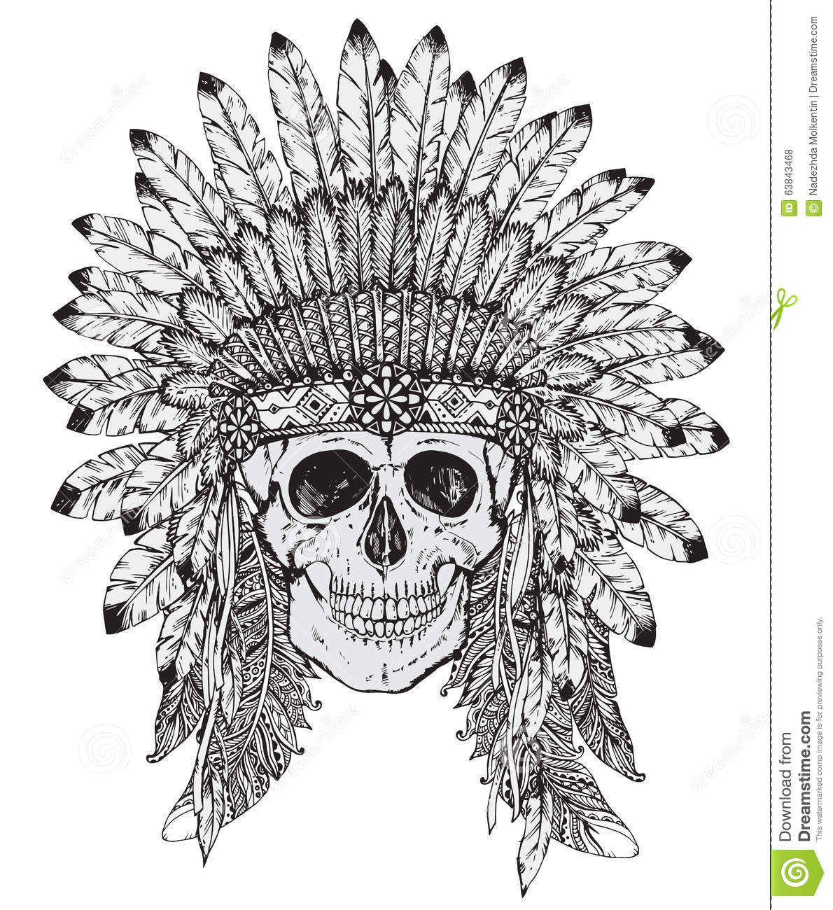 Hand Drawn Vector Illustration Of Indian Headdress With