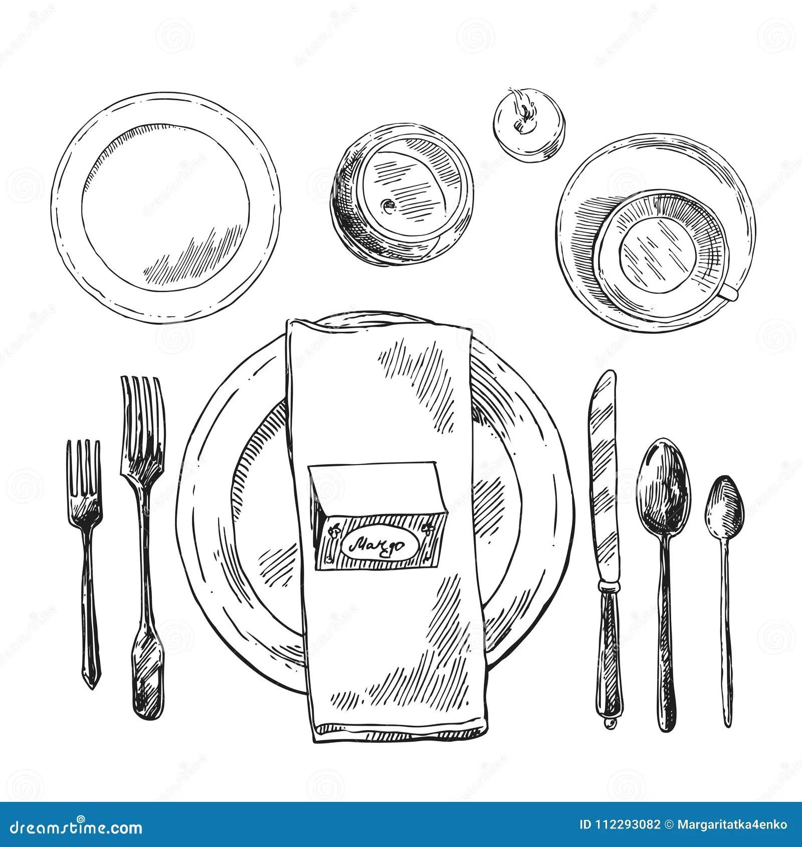 Hand Drawn Vector Illustration Table Setting Stock Vector