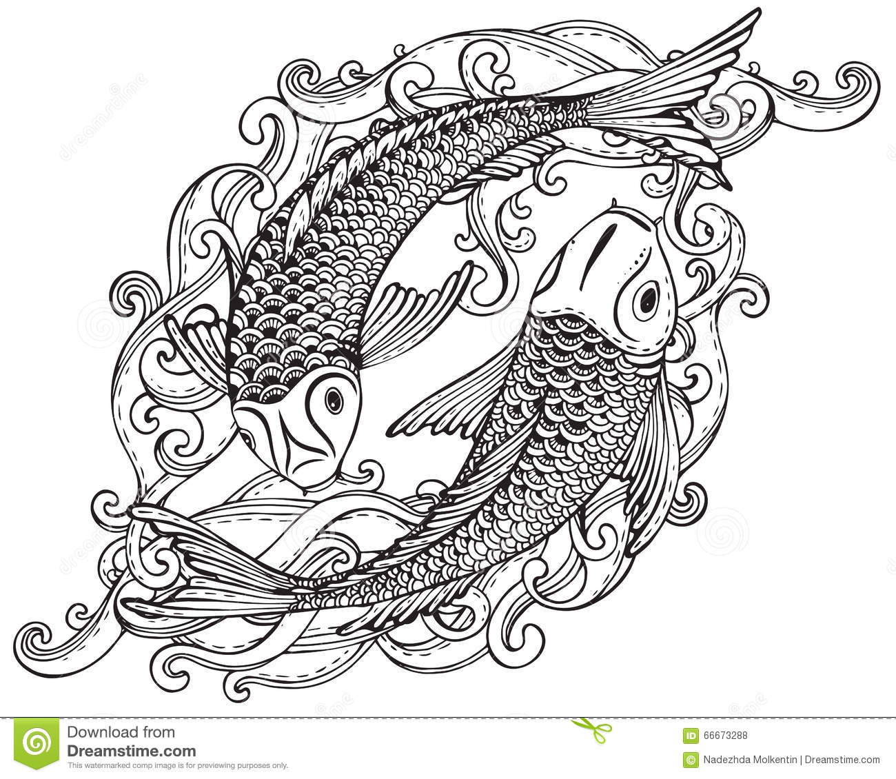 Hand Drawn Vector Illustration Of Two Koi Fishes Japanese