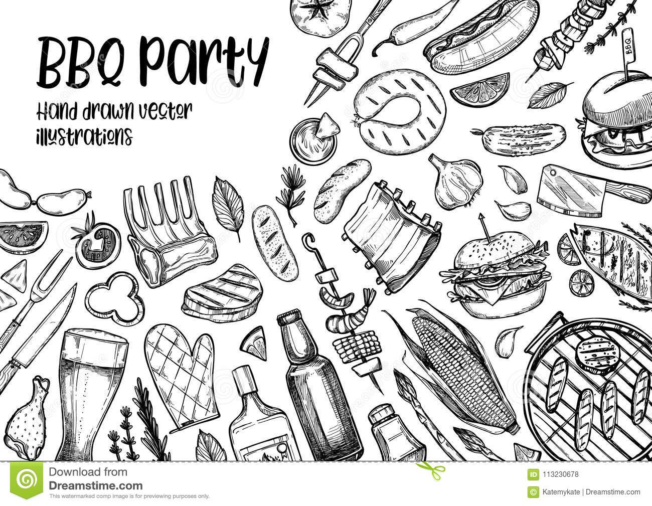 Hand Drawn Vector Illustrations Bbq Collection Barbeque
