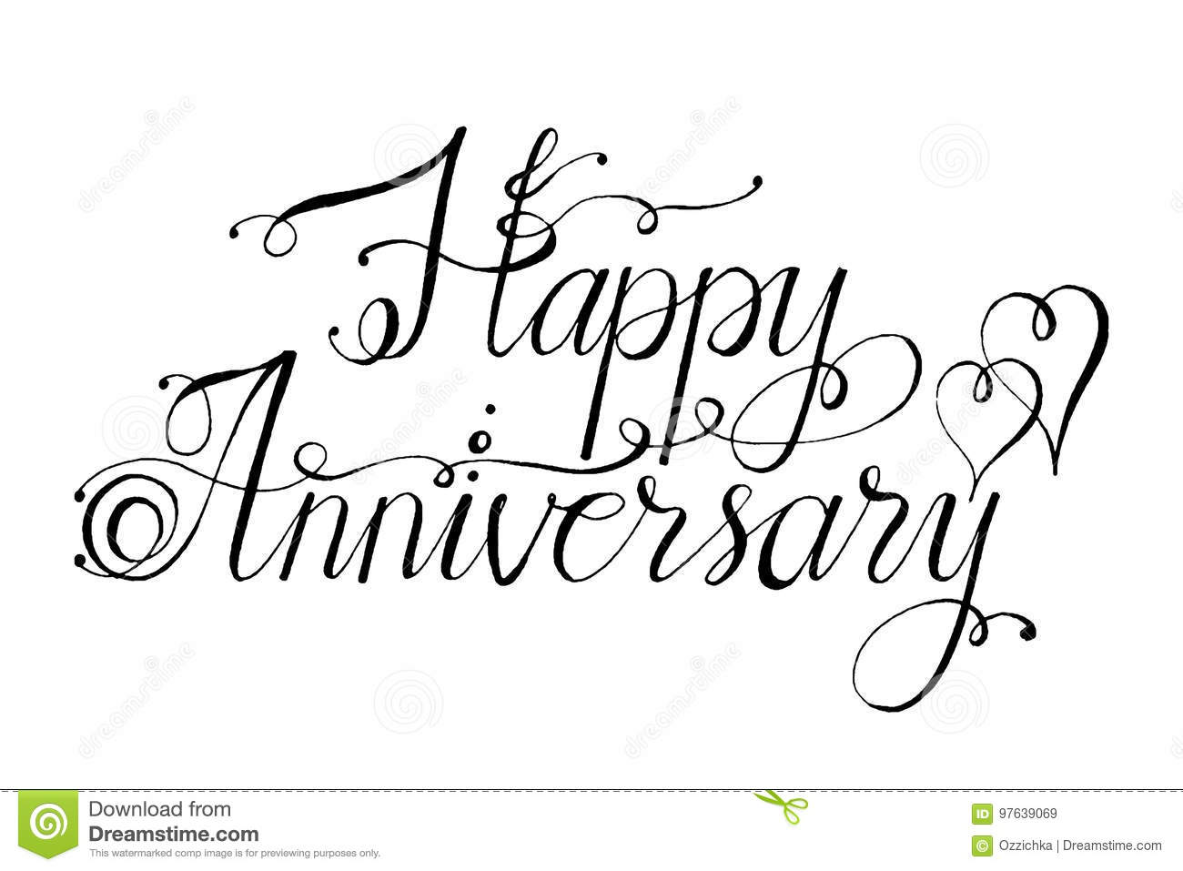Hand Drawn Vector Lettering Words Happy Anniversary By