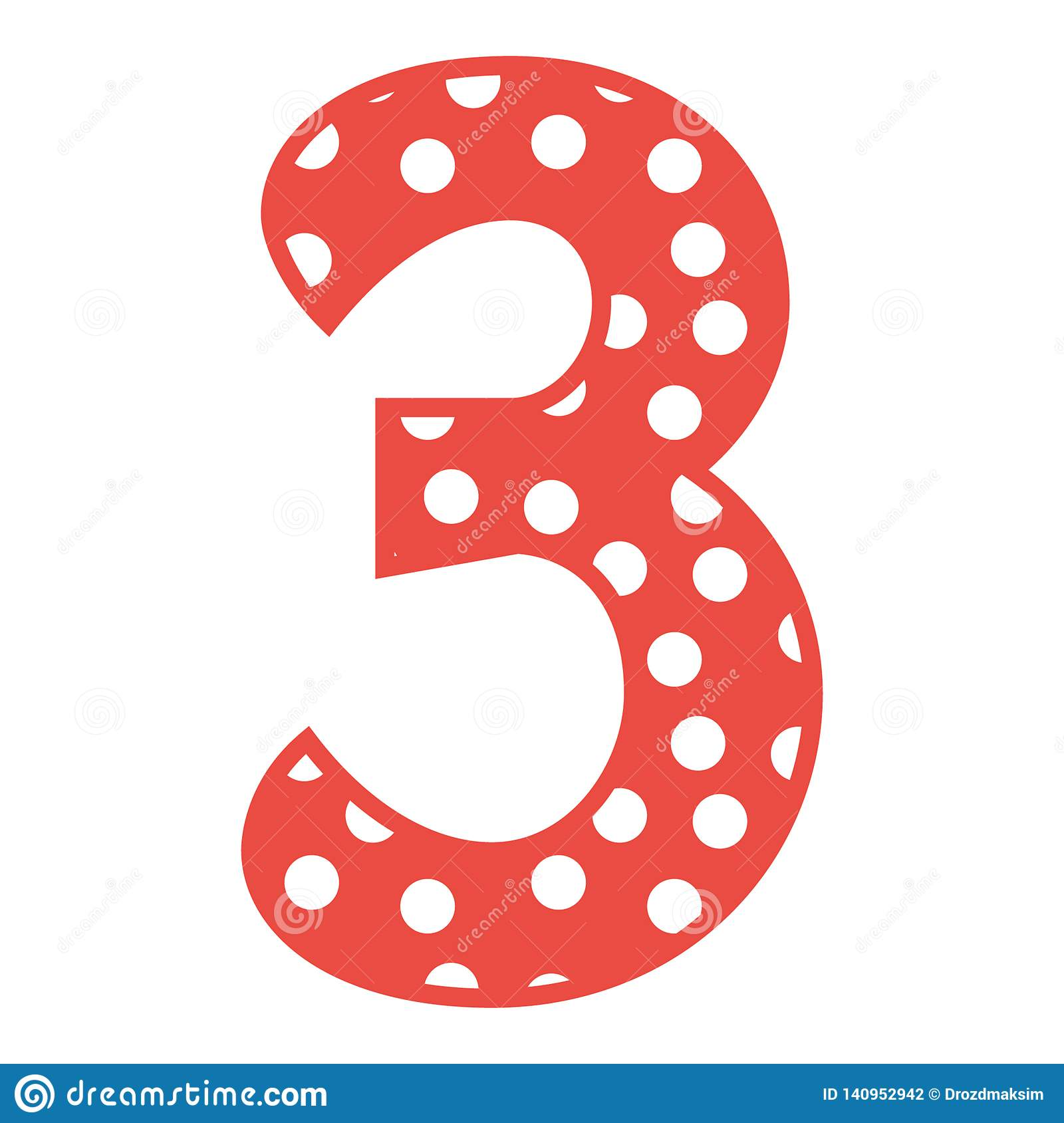Hand Drawn Vector 3 Three Number With Polka Dots Stock