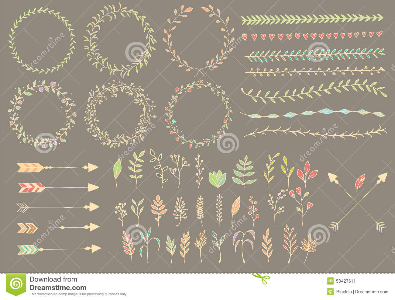 Hand Drawn Vintage Arrows Feathers Dividers And Floral Elements Stock Vector Image 53427611