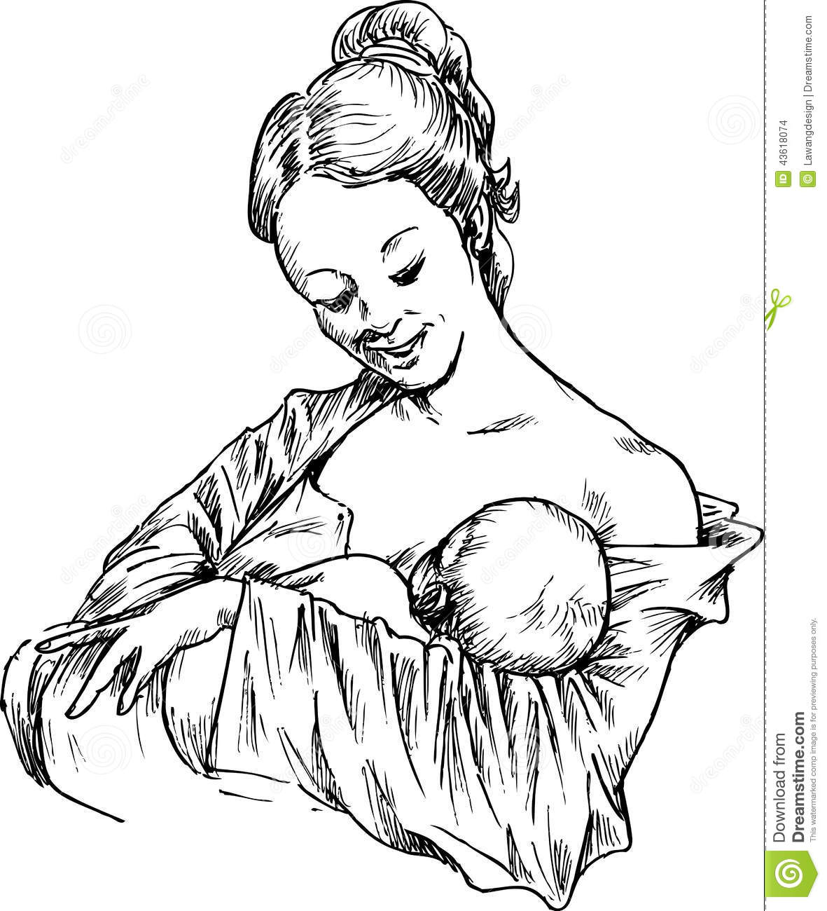 Hand Drawn Woman Hugging And Feeding Your Baby Stock