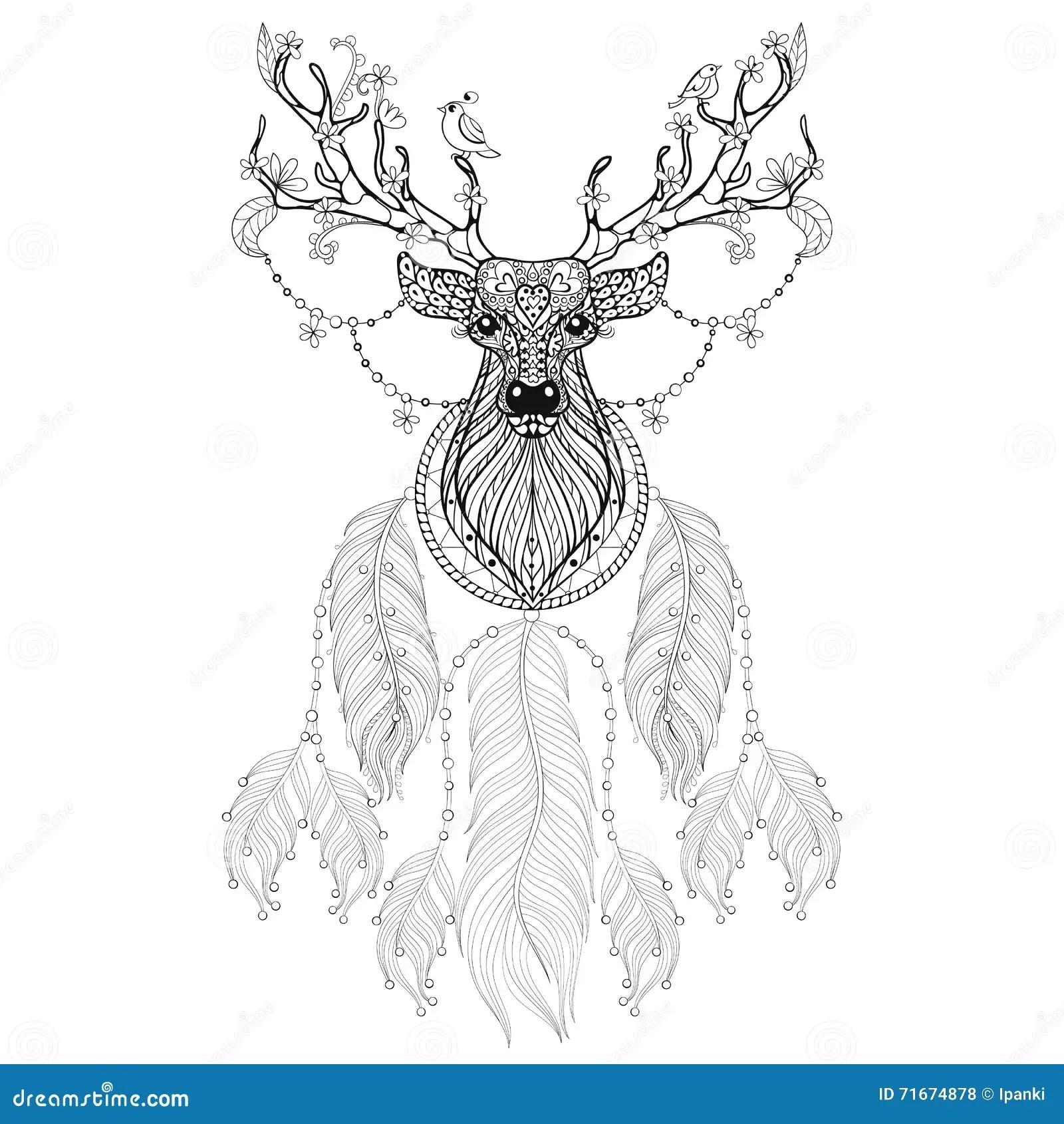Hand Drawn Zentangle Dreamcatcher With Tribal Hprned Deer