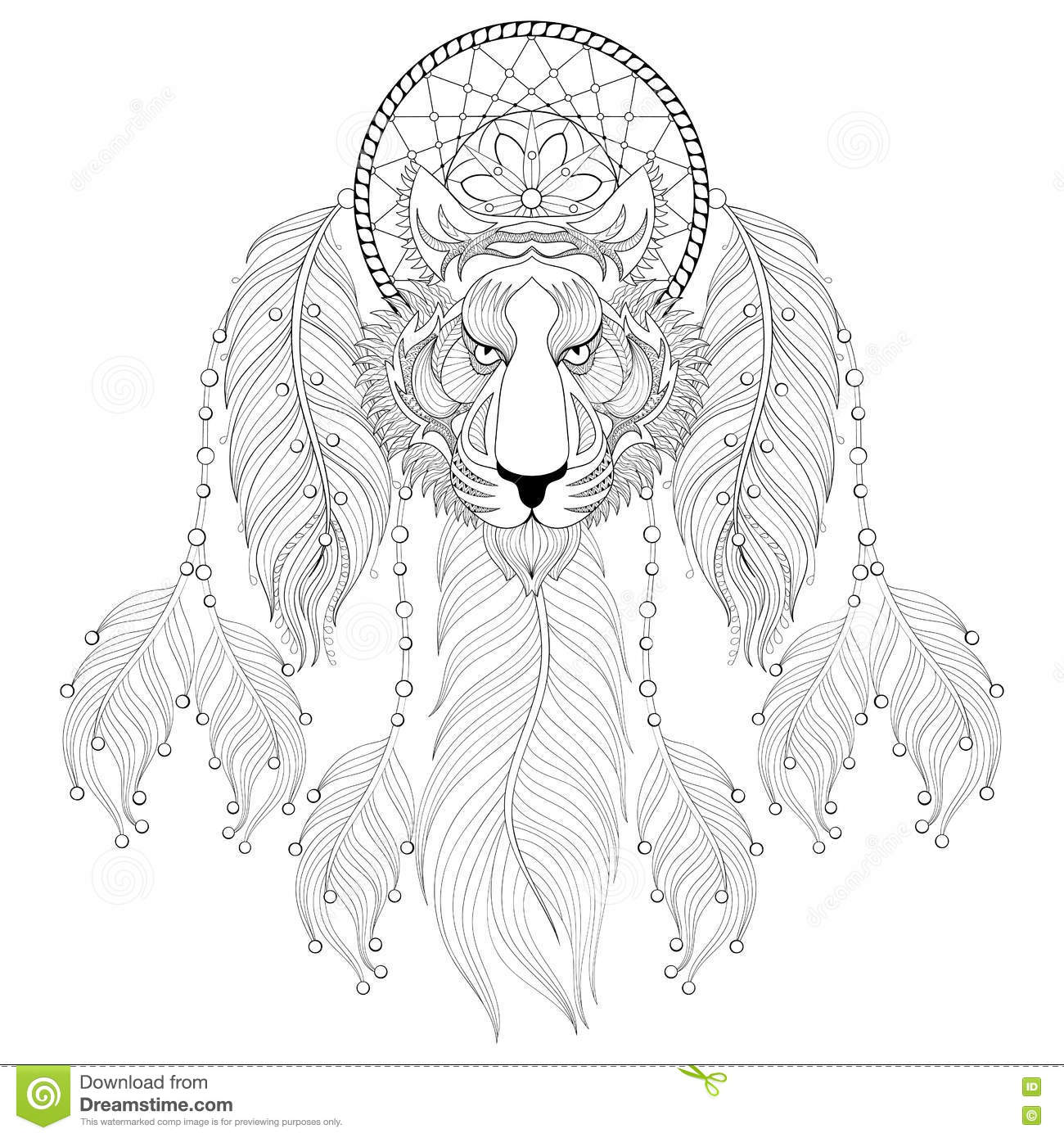 Hand Drawn Zentangle Dreamcatcher With Tribal Tiger Face