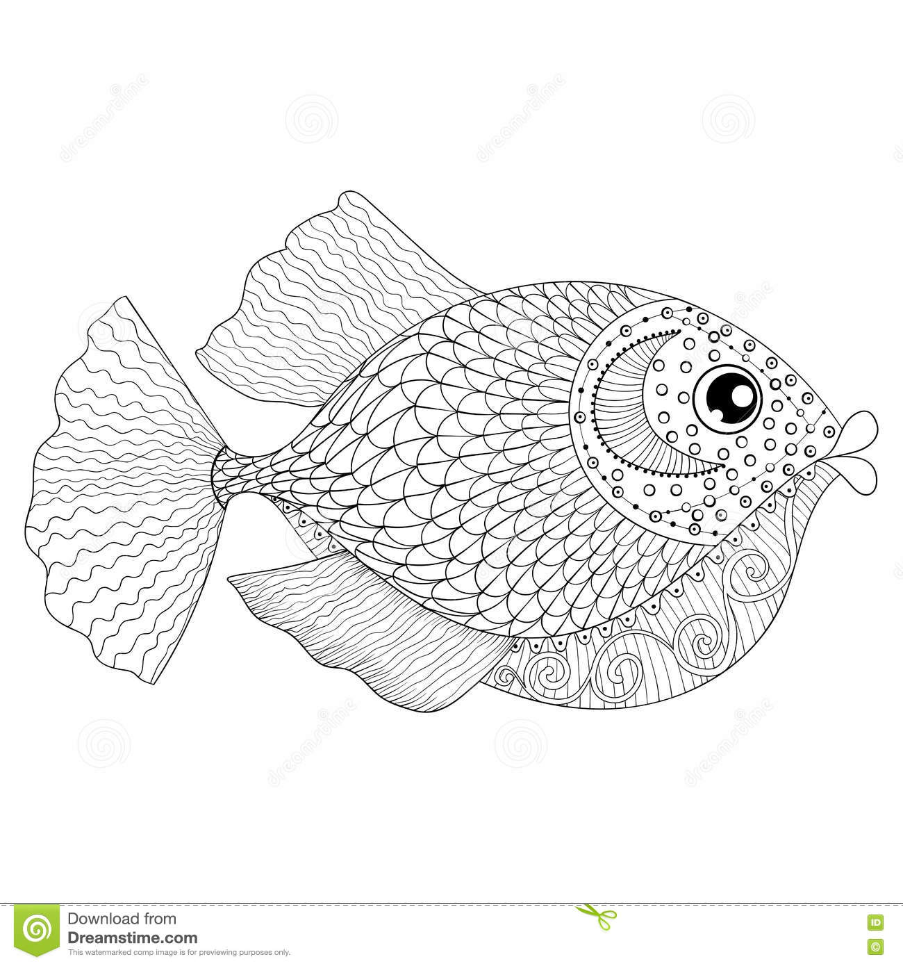 Hand Drawn Zentangle Fish For Adult Anti Stress Coloring Pages Stock Vector