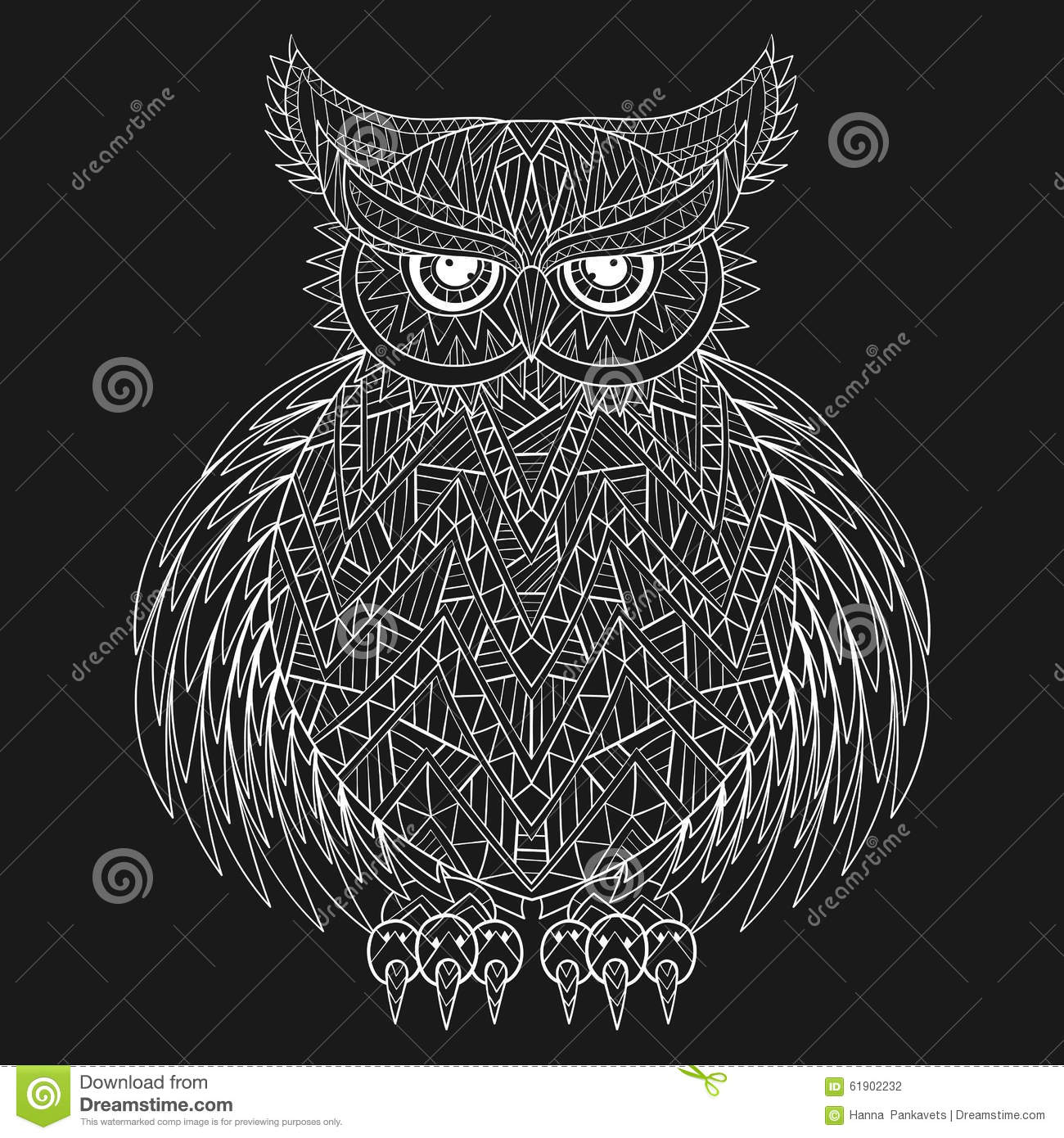 Hand Drawn Zentangle Owl Bird Totem For Adult Coloring