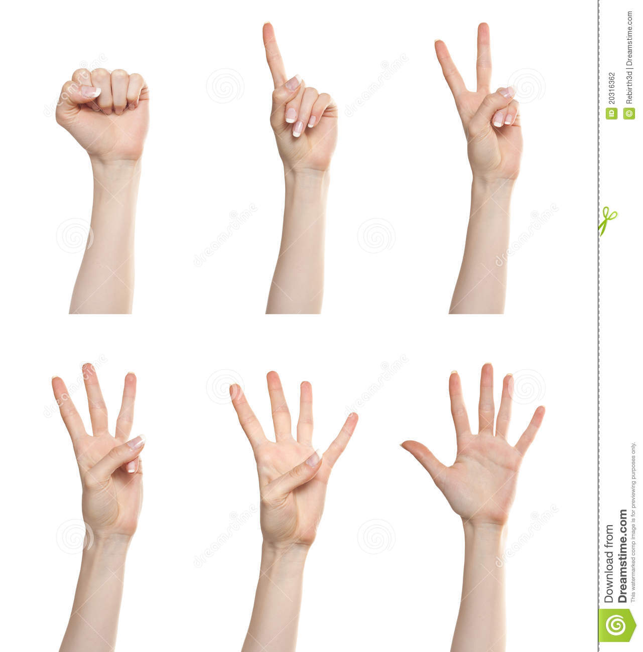 Hand Gesture Set Counting Numbers Stock Photo