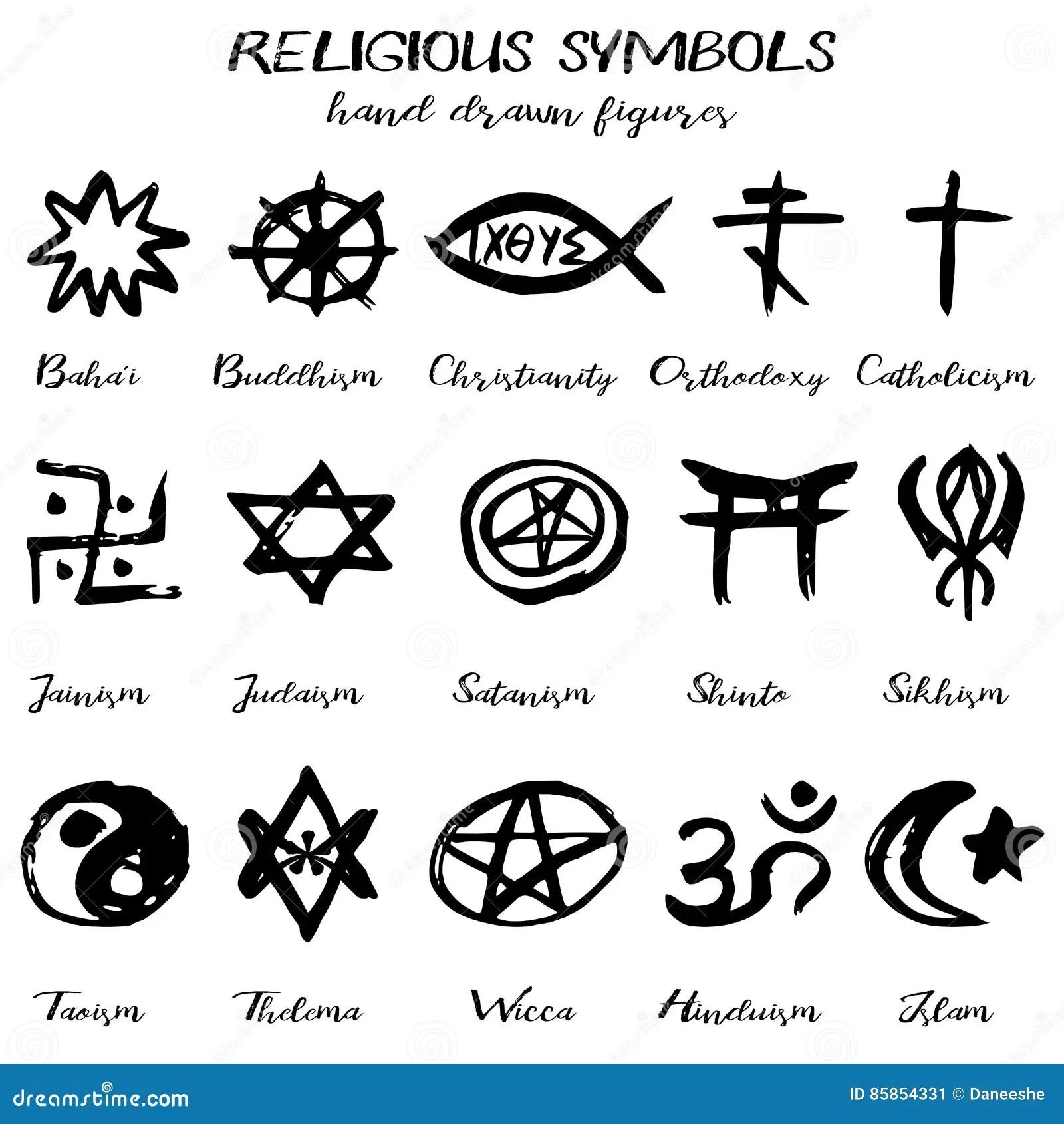 Hand Getrokken Vectorgrunge Gods Nstige Symbolen Vector