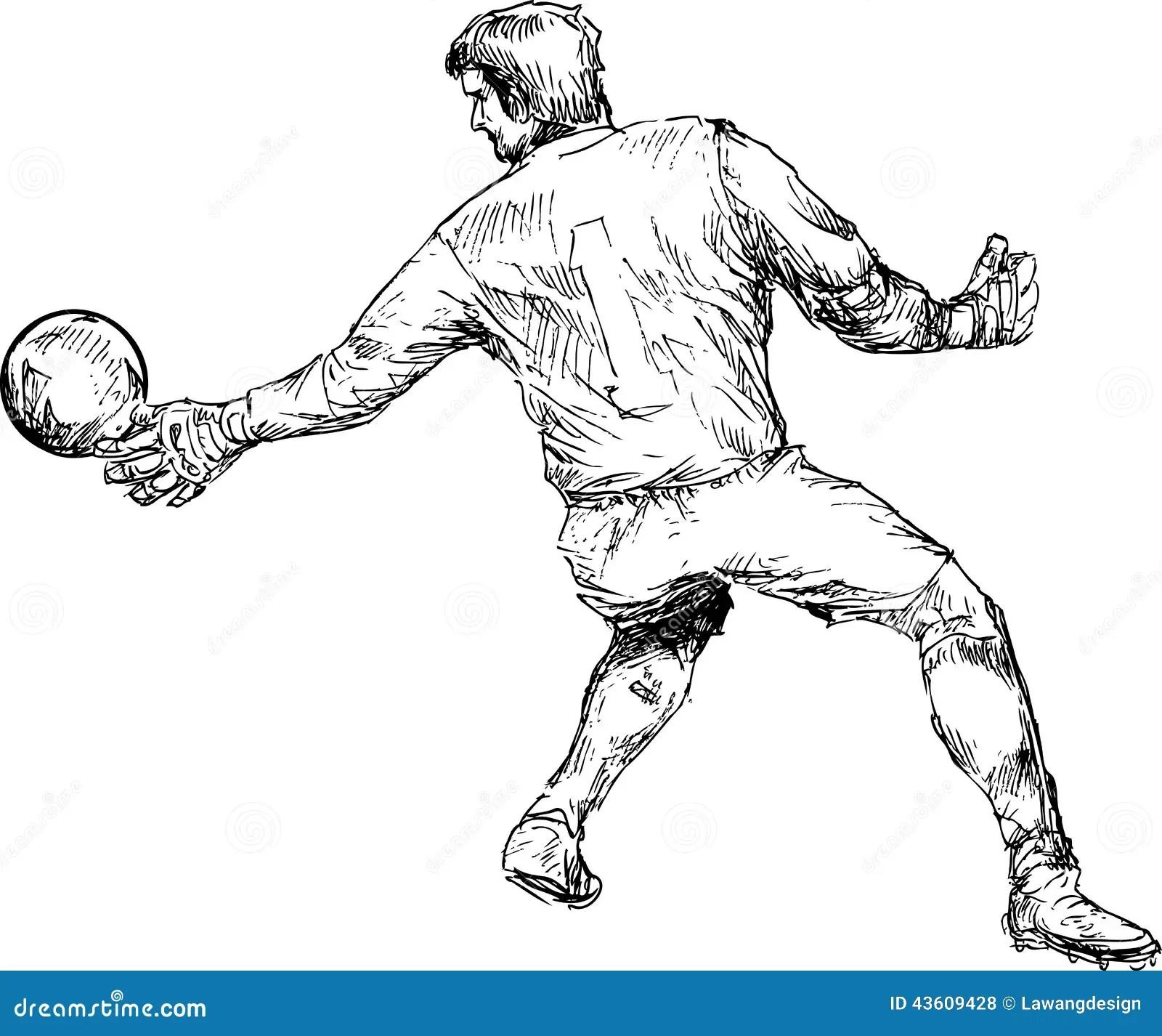 Hand Gezeichneter Fu Ballspieler Vektor Abbildung