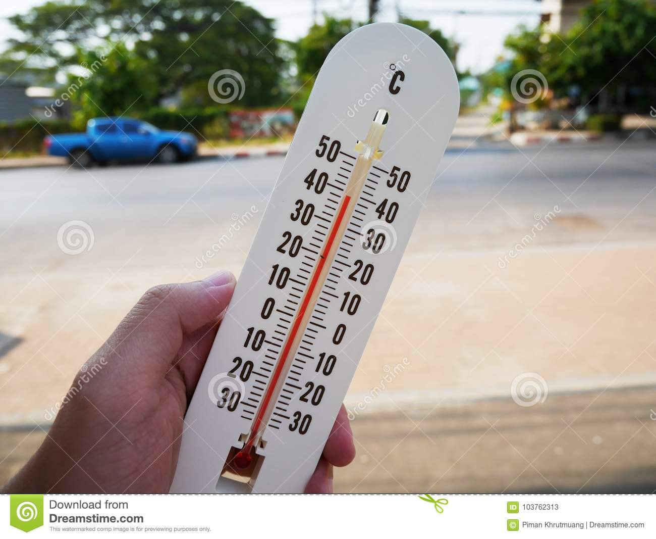 Hand Hold Thermometer Showing Temperature In Degrees