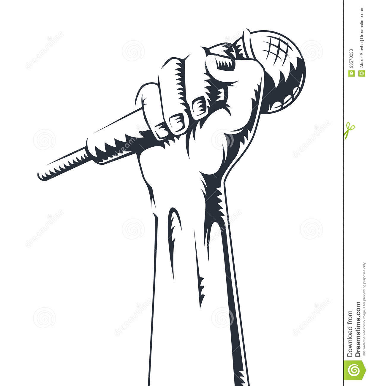 Hand Holding A Microphone In A Fist Vector Illustration