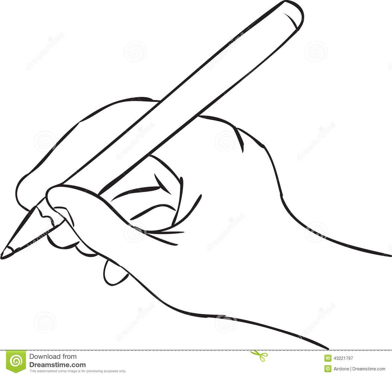 Hand Holding Pen In Writing Position Stock Vector