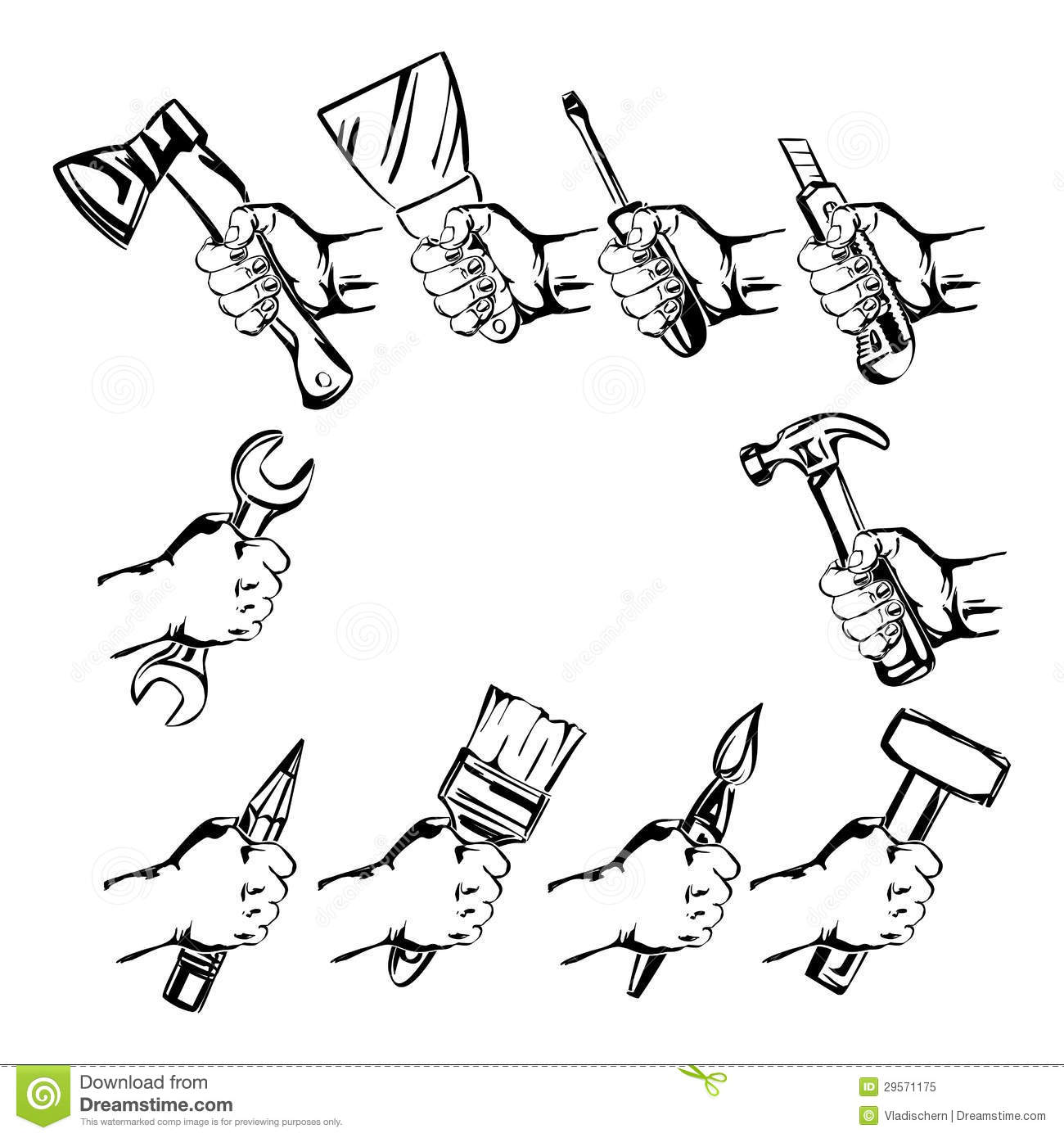 Hand Holding Tool Set Vector Royalty Free Stock Photo