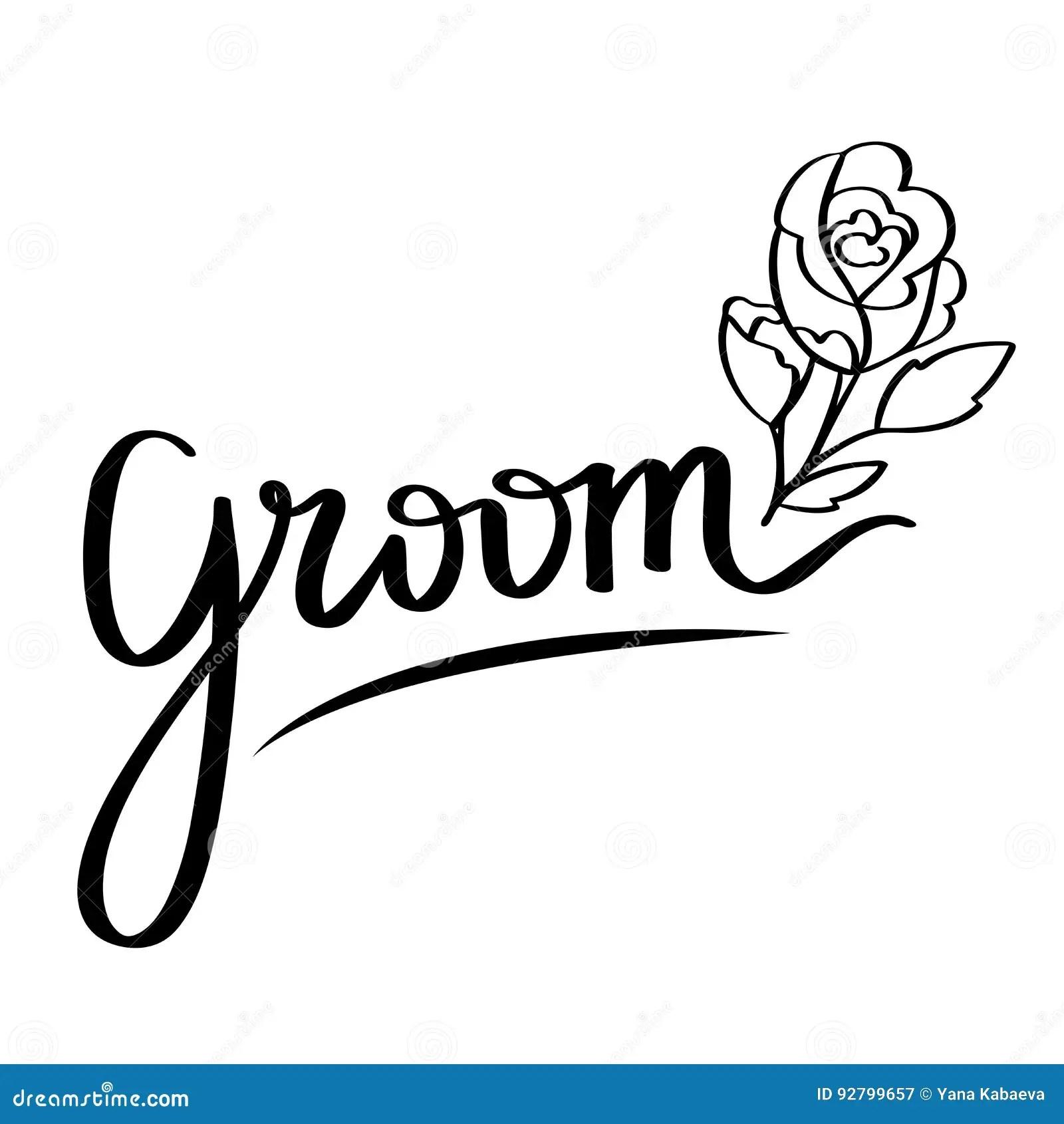 Hand Lettering Vector Of Word Groom Wedding Design