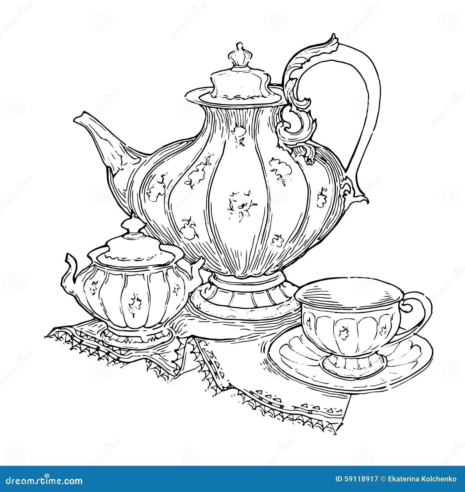 Hand Made Sketch Of Tea Sets Vector Illustration Stock