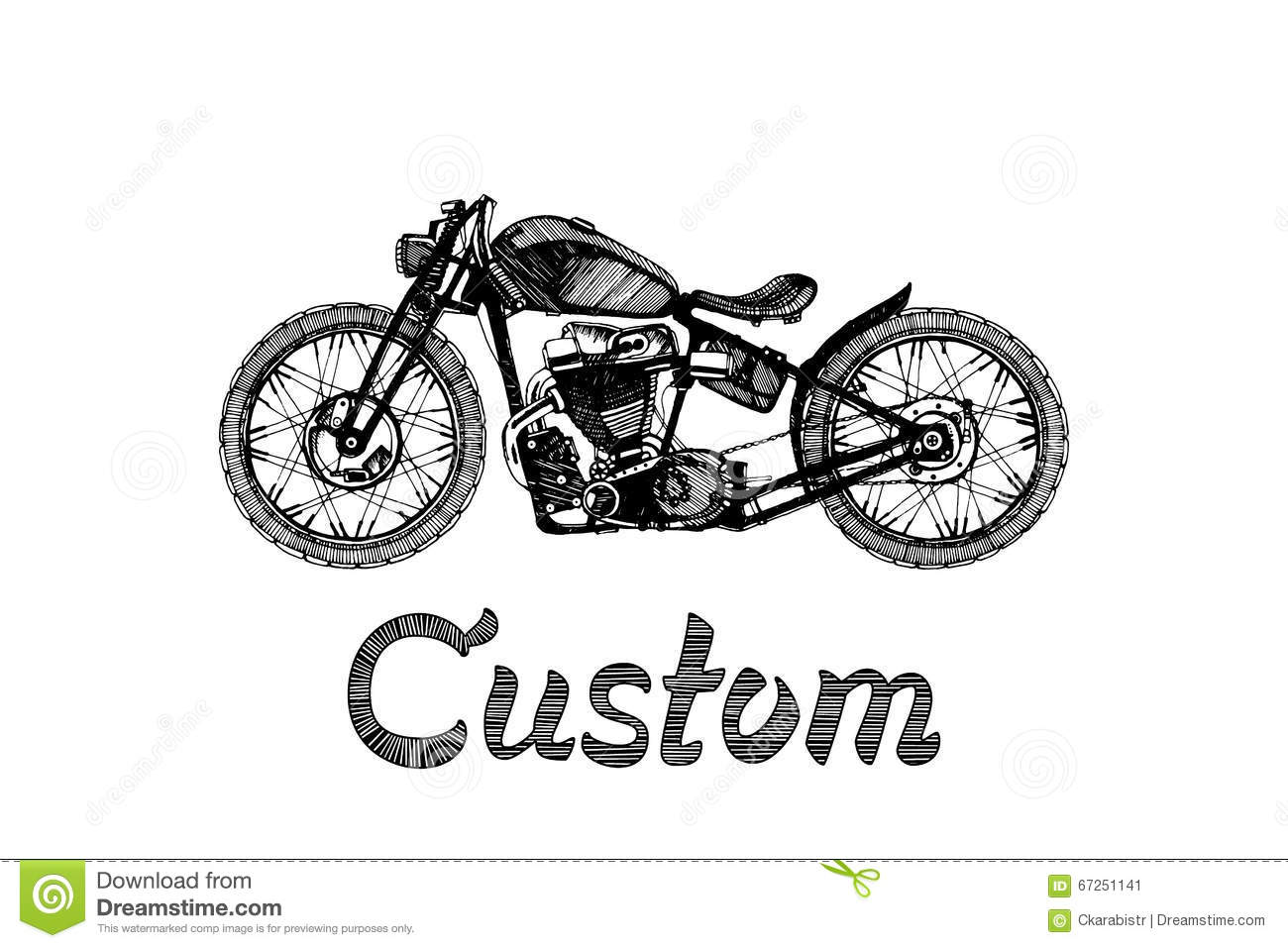 Hand Painted Motorcycle And Lettering Stock Vector