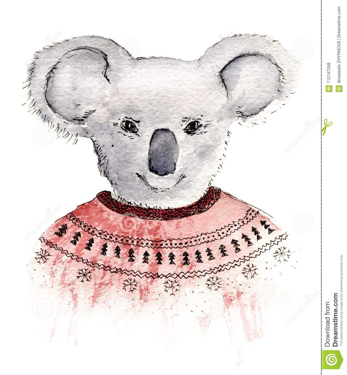 Hand Painted Watercolor Sketch Illustration Koala In Red
