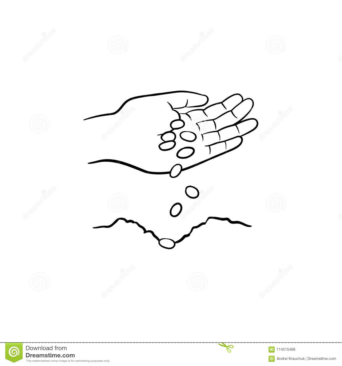 Hand Planting Seeds Hand Drawn Sketch Icon Stock Vector