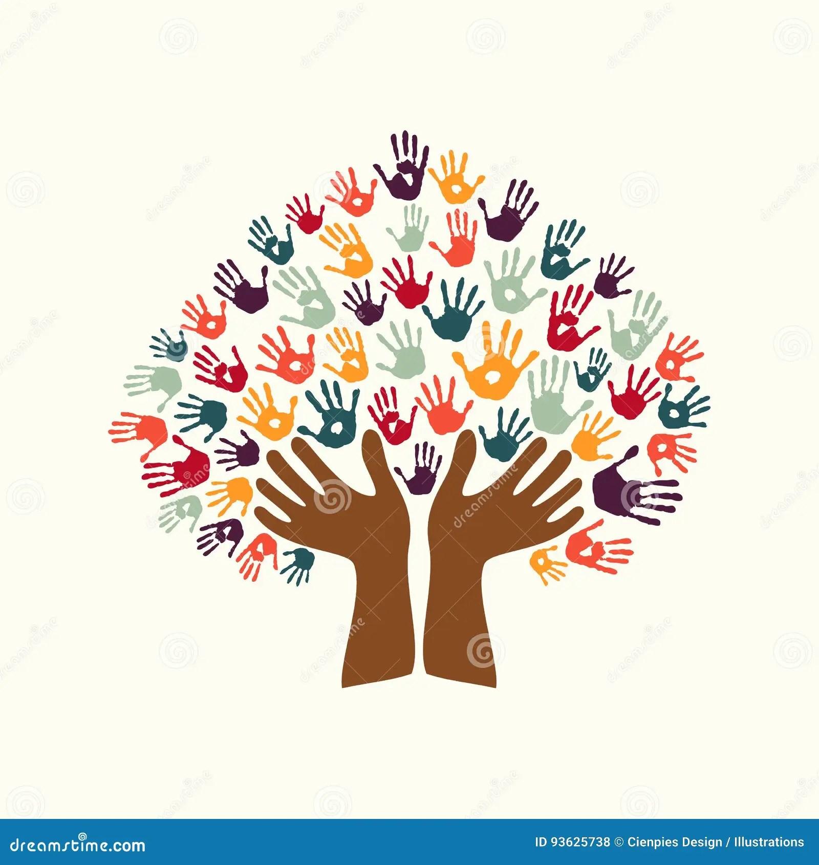 Hand Print Ethnic Tree Symbol Of Culture Diversity Stock