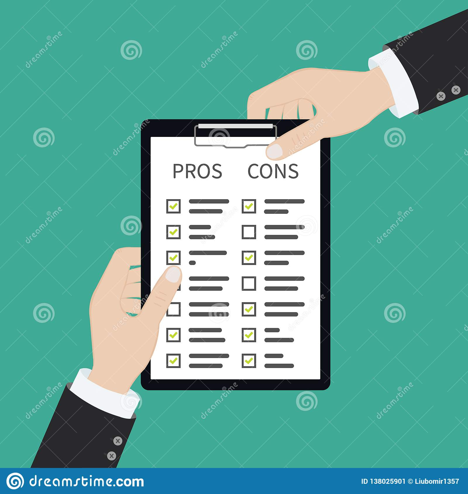 In Hand Pros Cons Concept On Decision Making Process