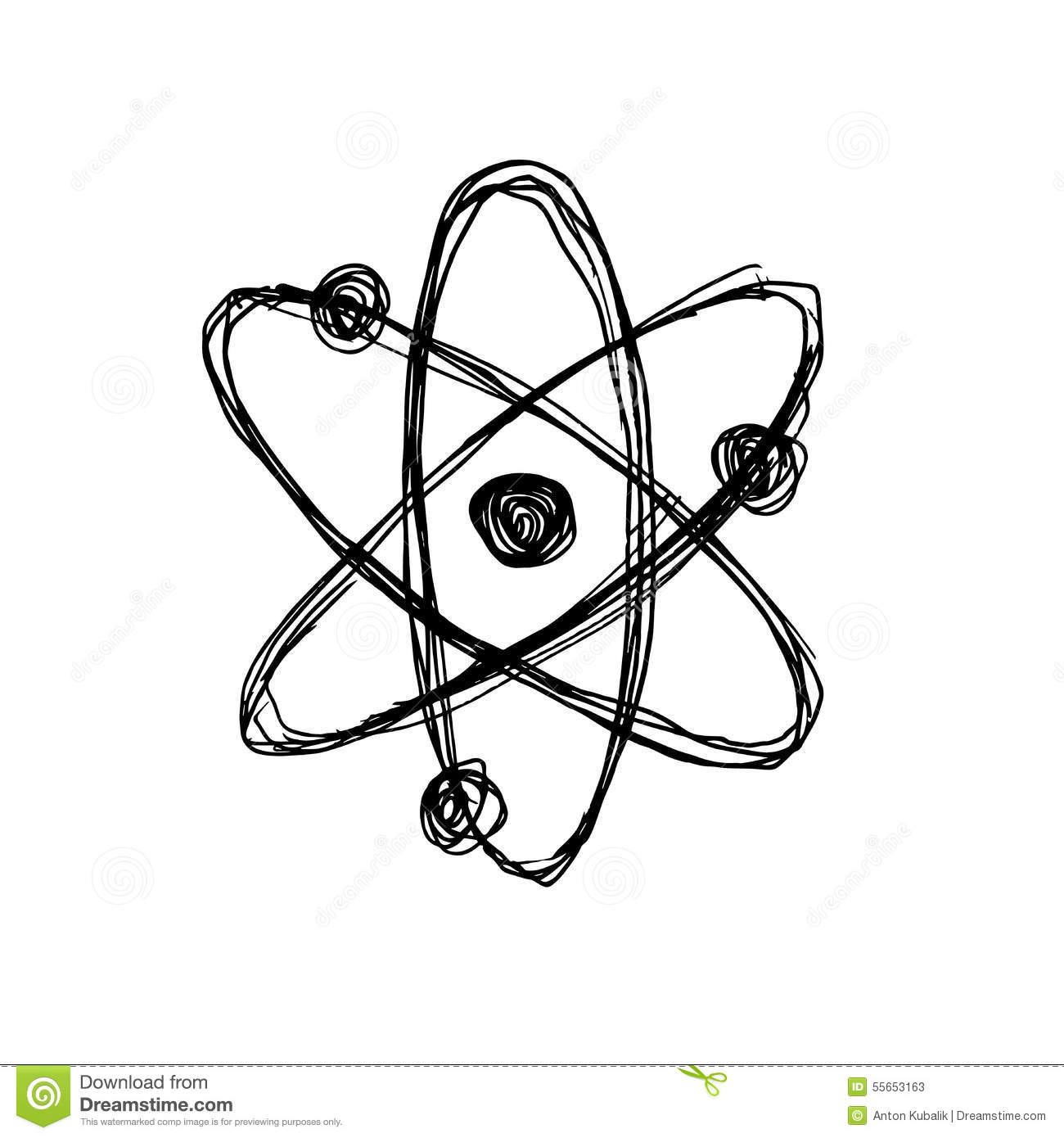 Hand Sketch Atom Stock Vector Illustration Of Chemistry