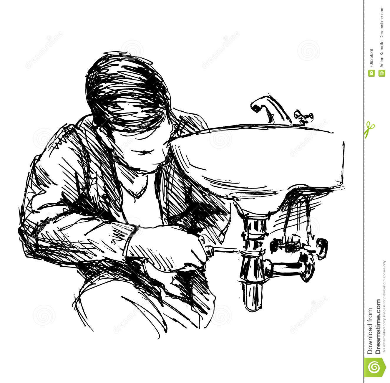Hand Sketch Plumber Stock Vector Illustration Of Repair