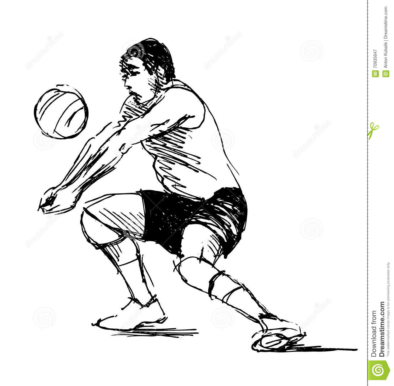 Volleyball Sketch Vector Illustration