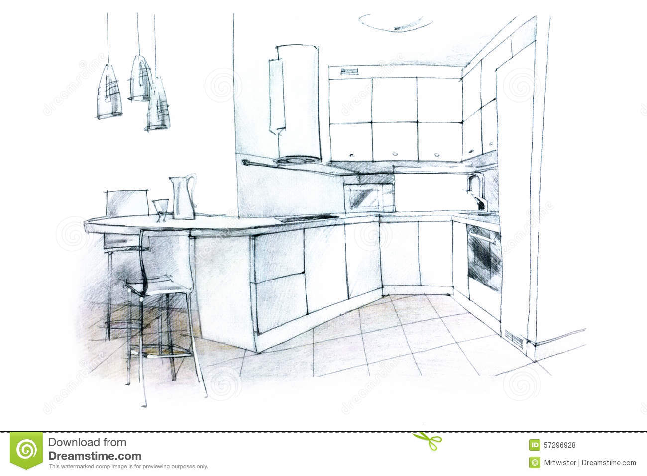 Hand Sketching Of A Kitchen Interior Stock Illustration