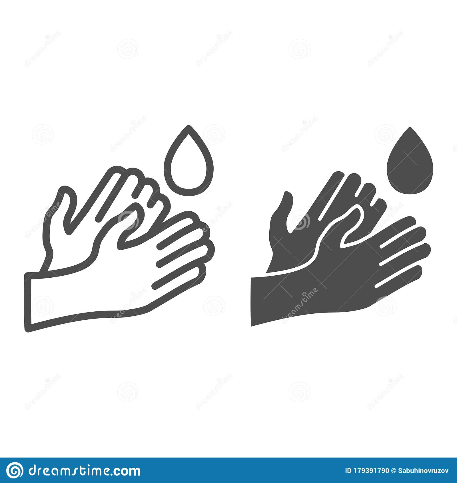 Hand Washing Line And Solid Icon Hygiene Protection