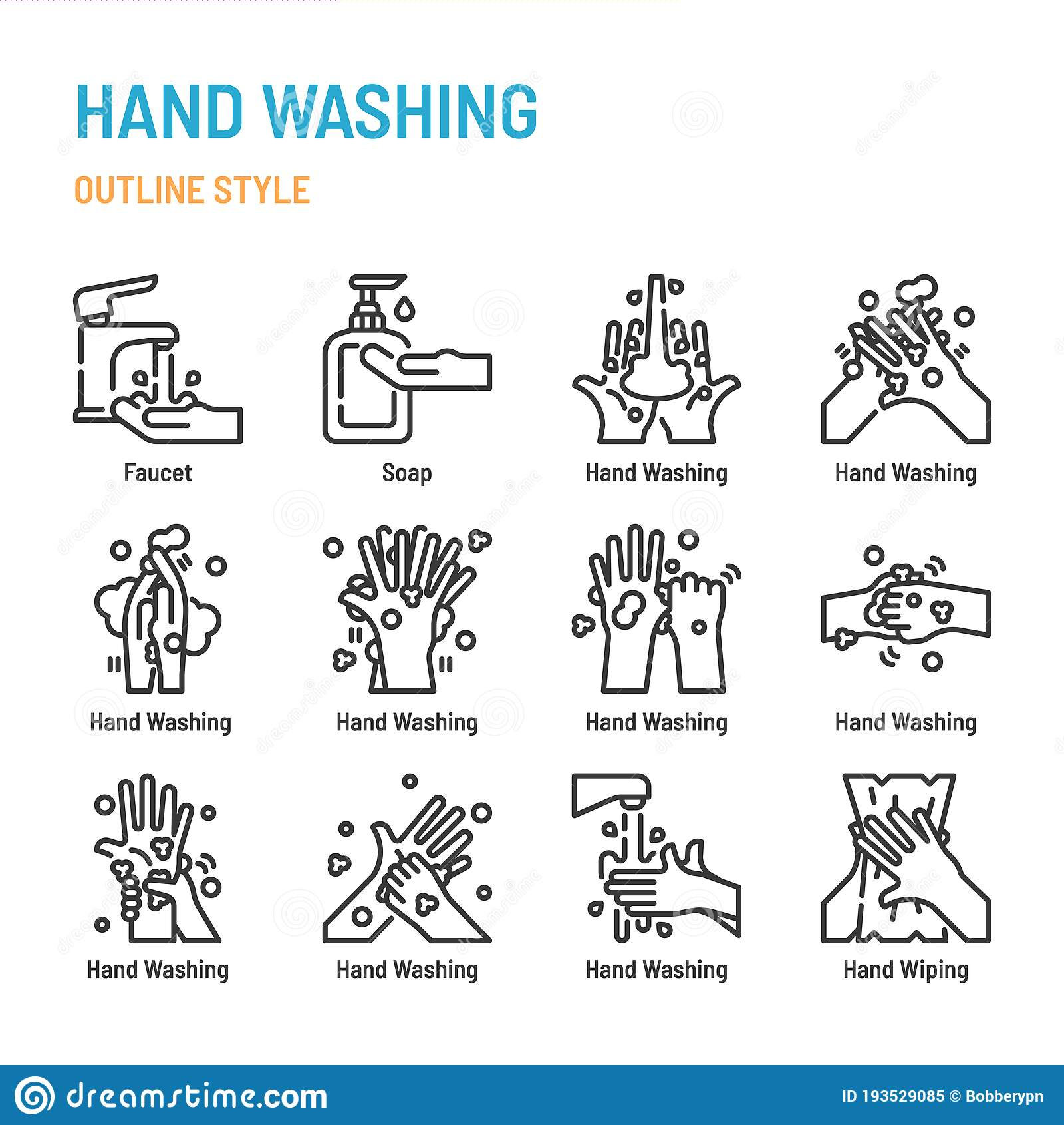 Hand Washing In Outline Icon And Symbol Set Stock Vector