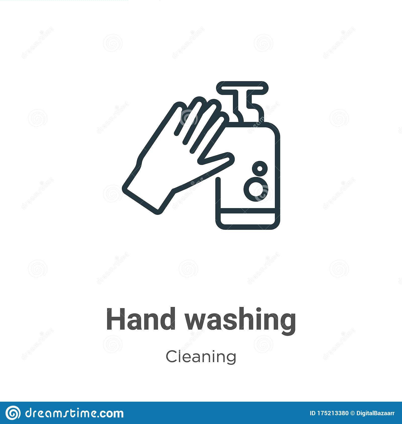 Hand Washing Outline Vector Icon Thin Line Black Hand