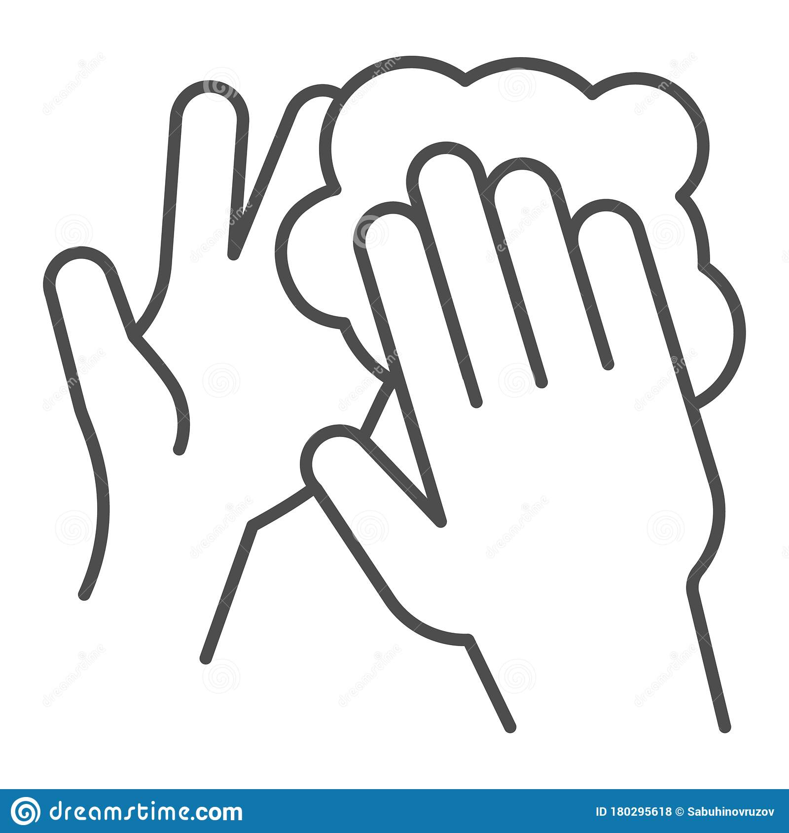 Hand Washing With Soap Thin Line Icon Keep Hands Clean