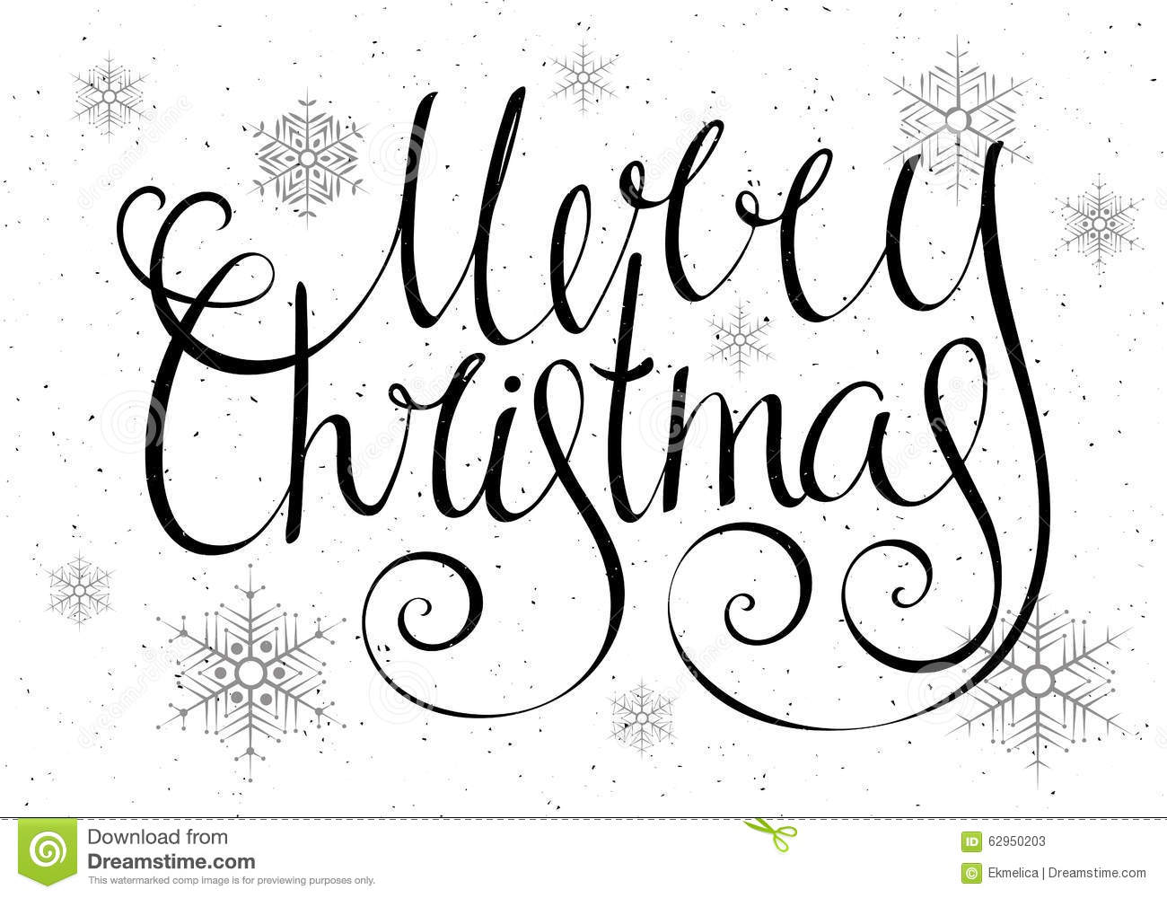 Handdrawn Calligraphic Inscription Merry Christmas Stock