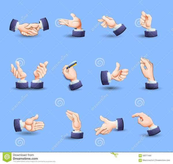 Hands Gestures Icons Set Flat Stock Vector - Image: 59077466