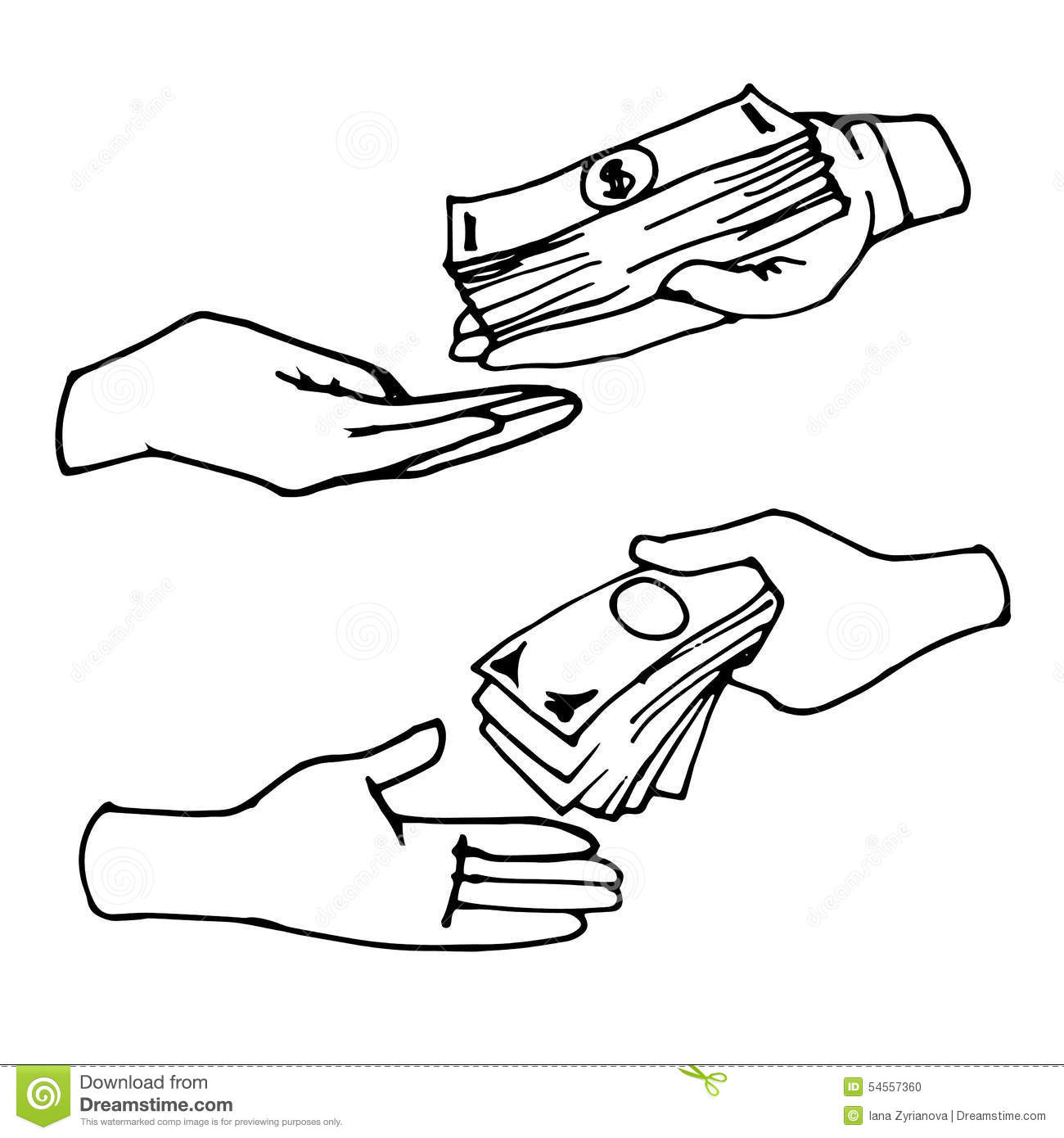 Hands Giving And Receiving Money Stock Vector