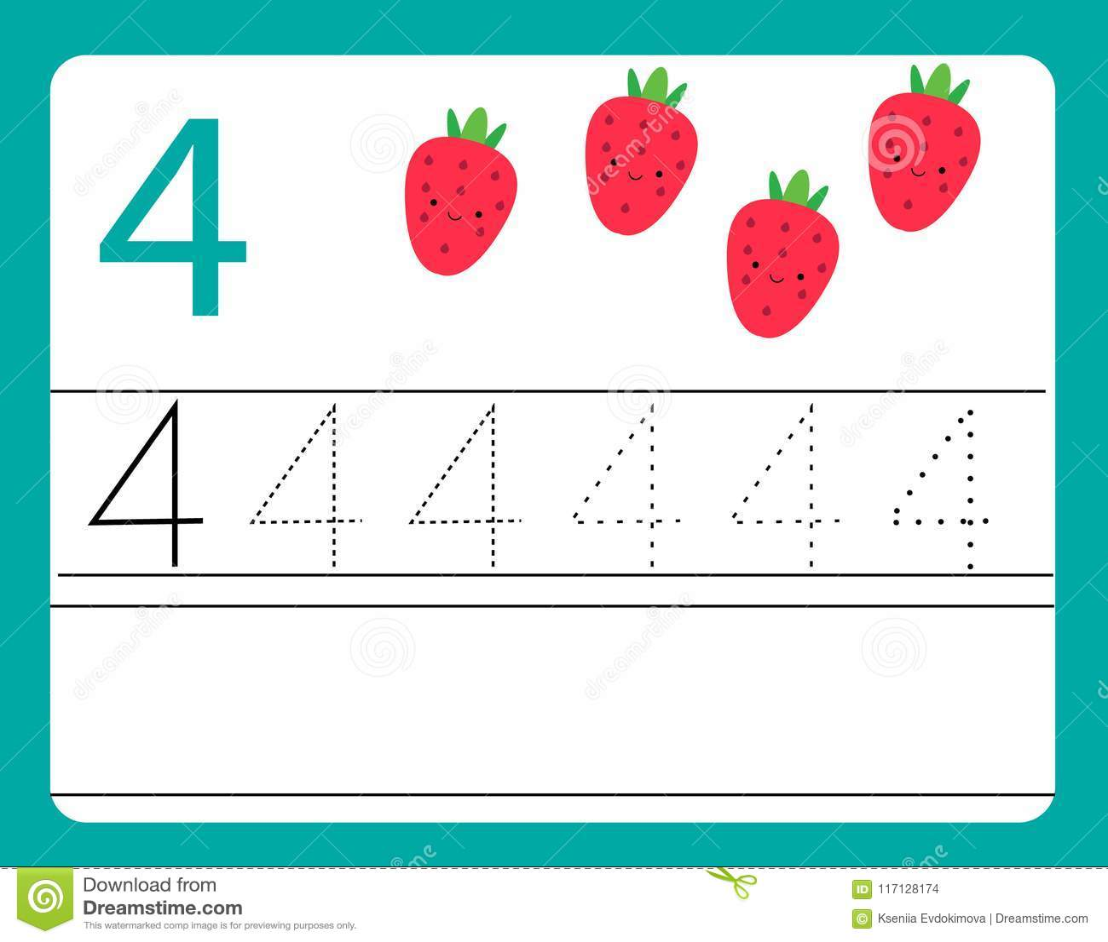 Handschriftspraxis Lernen Von Zahlen Mit Netten