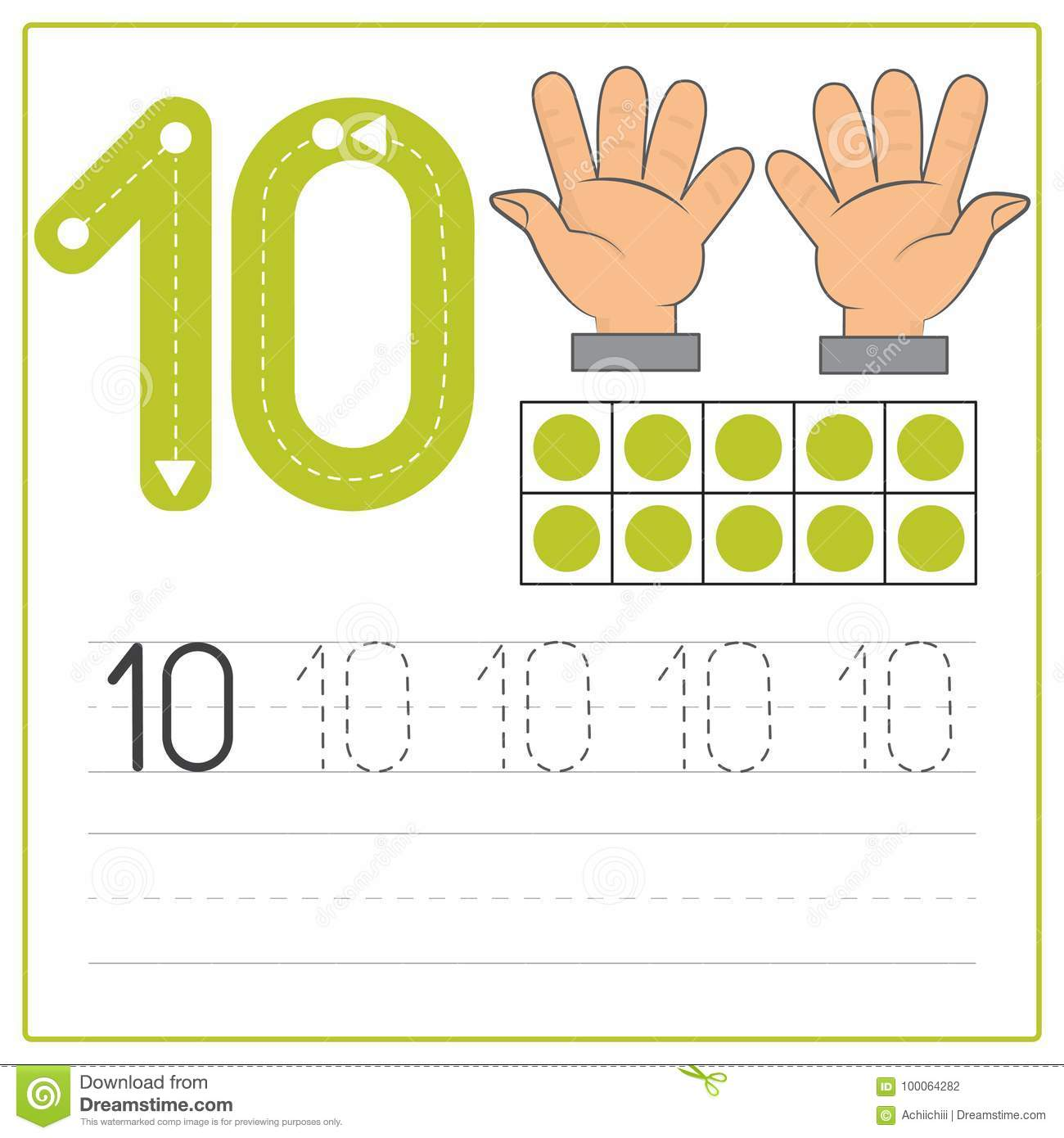 Number Writing Practice 10 Stock Vector Illustration Of