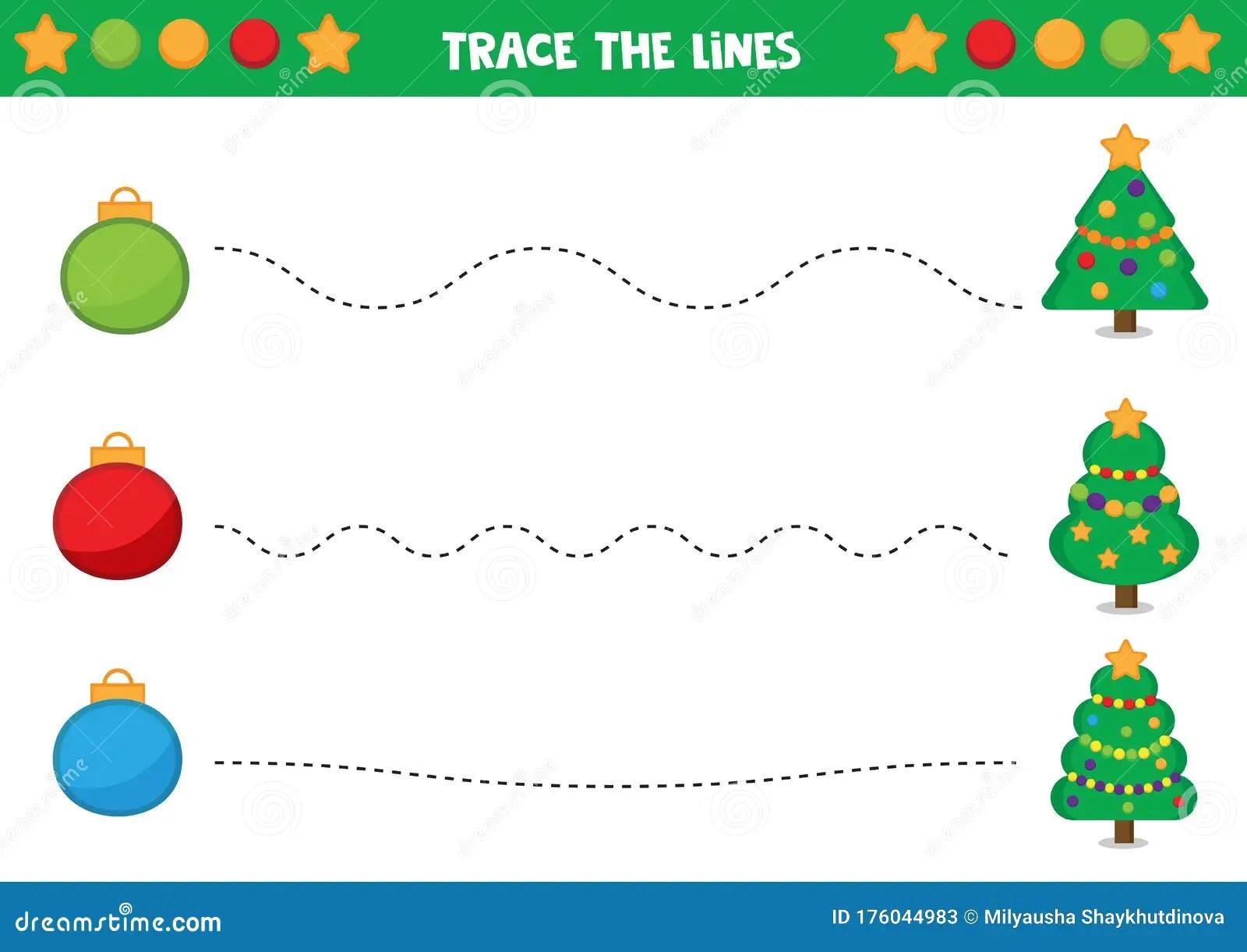 Handwriting Practice Christmas Balls And Fur Trees