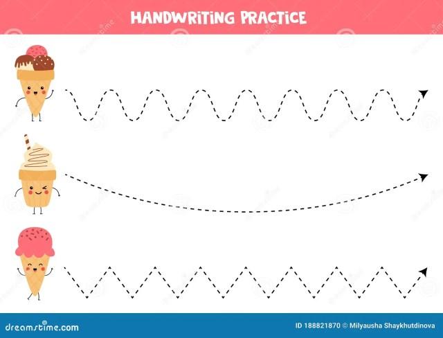 Handwriting Practice For Kids. Cute Kawaii Ice Creams. Stock