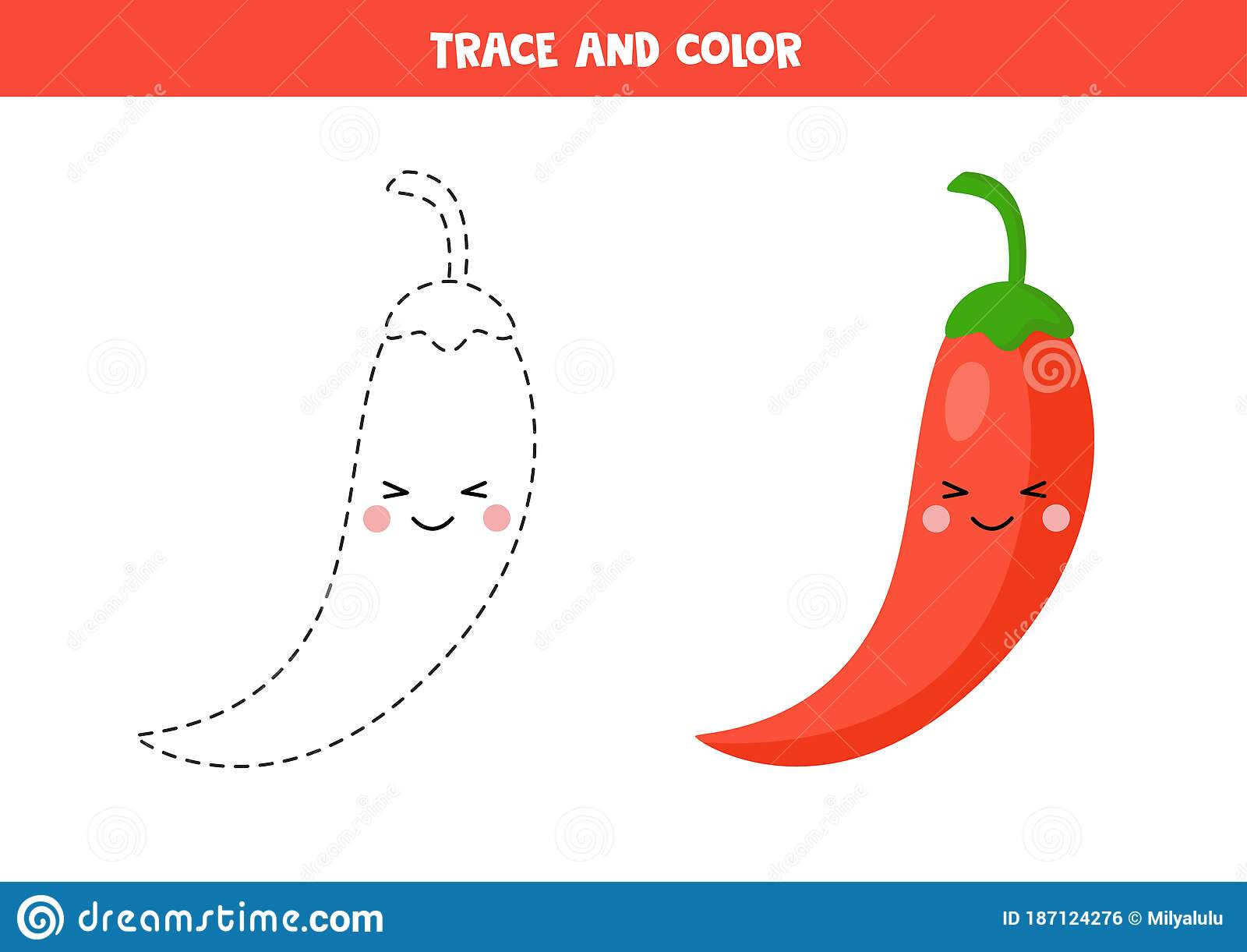 Handwriting Practice For Kids Trace Red Chili Pepper And