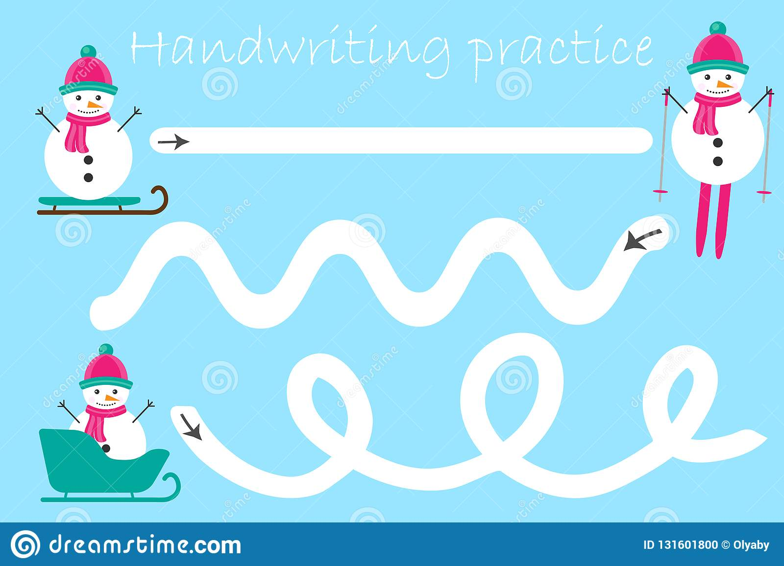 Handwriting Practice Sheet Christmas Theme Snowmen Kids