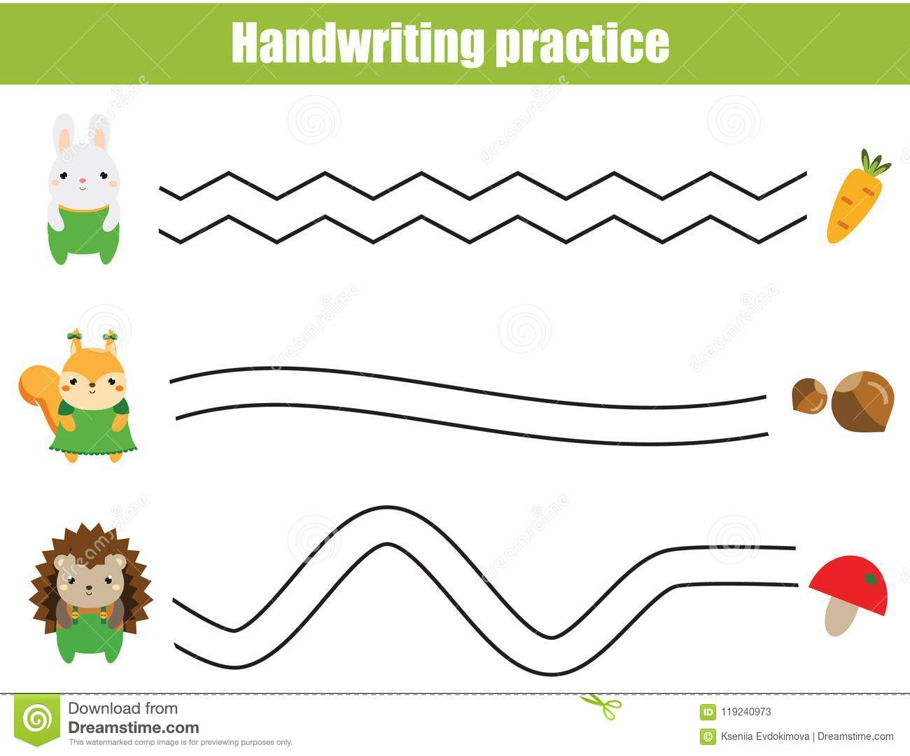 Handwriting Practice Sheet Educational Children Game Printable Worksheet For Kids Help