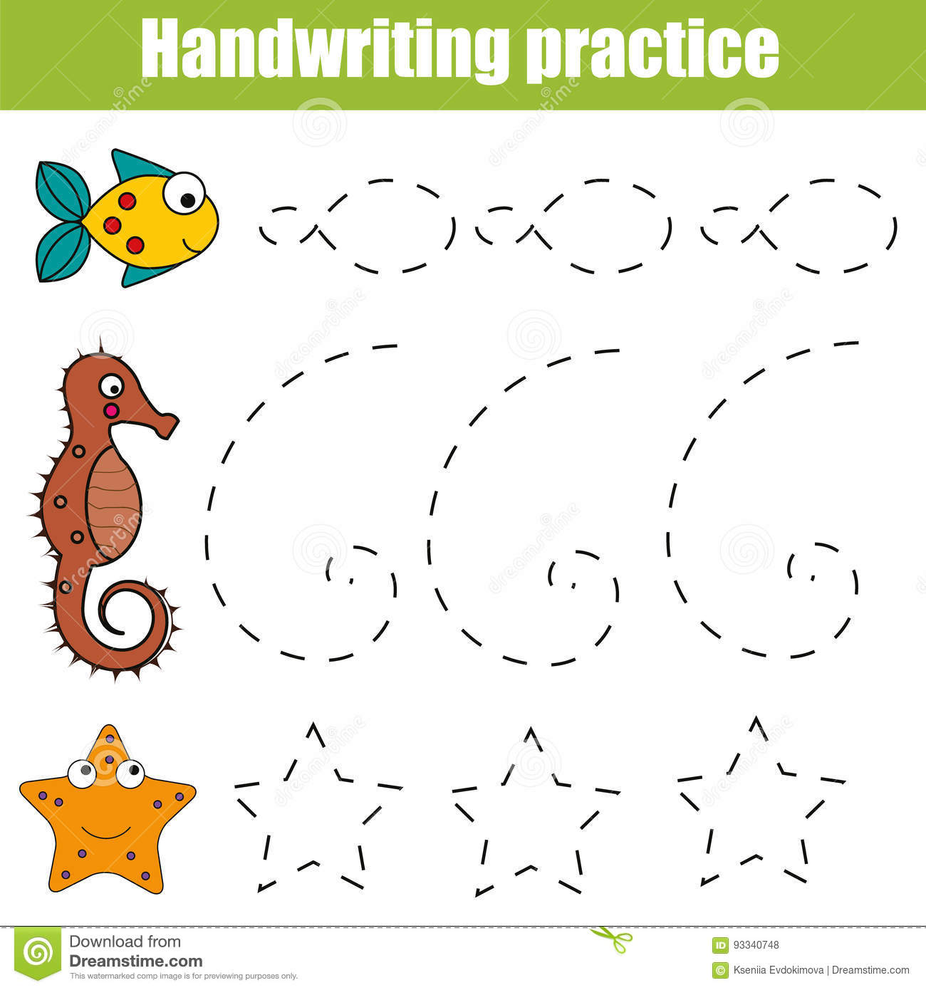 Handwriting Practice Sheet Educational Children Game Printable Worksheet For Kids With Shapes