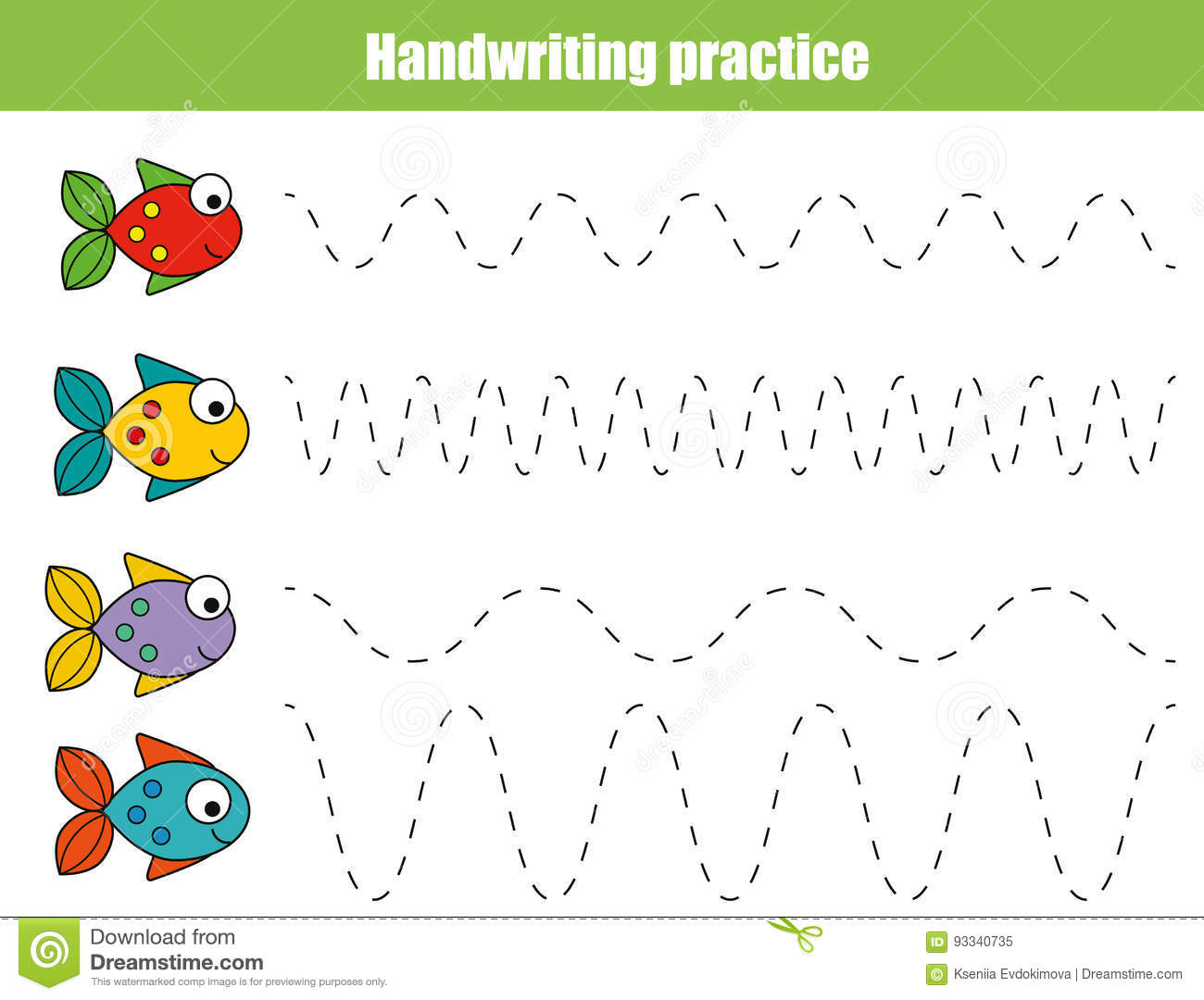 Handwriting Practice Sheet Educational Children Game Printable Worksheet For Kids With Wavy