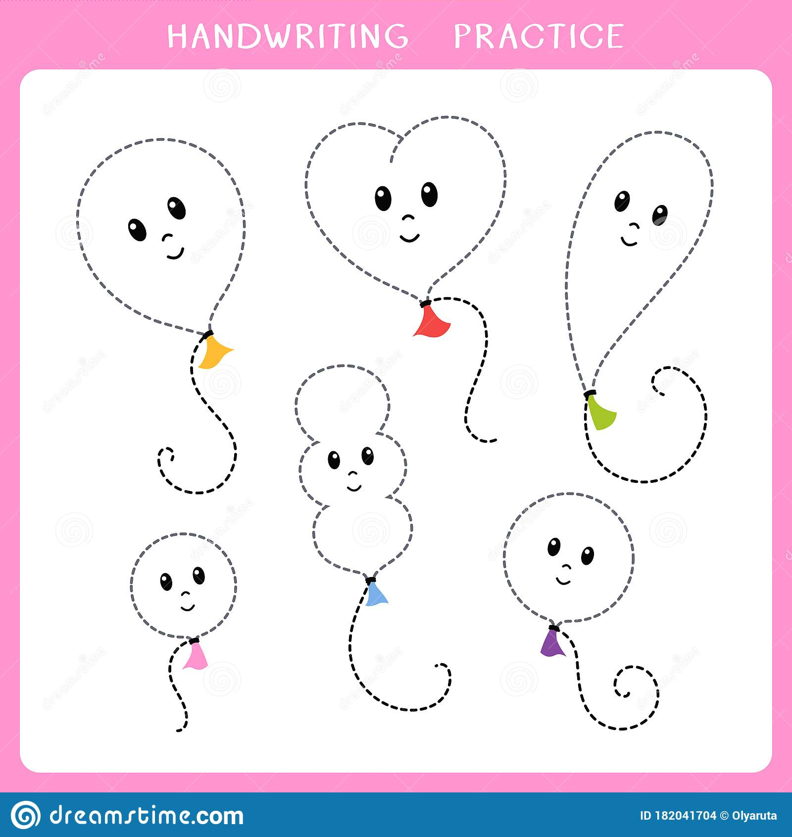 Handwriting Practice Sheet Stock Vector Illustration Of