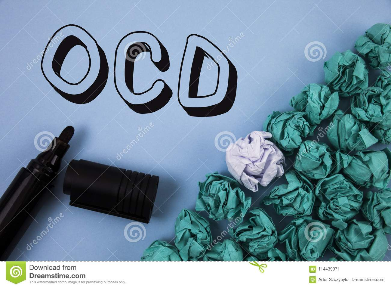 Handwriting Text Ocd Concept Meaning Obsessive Compulsive