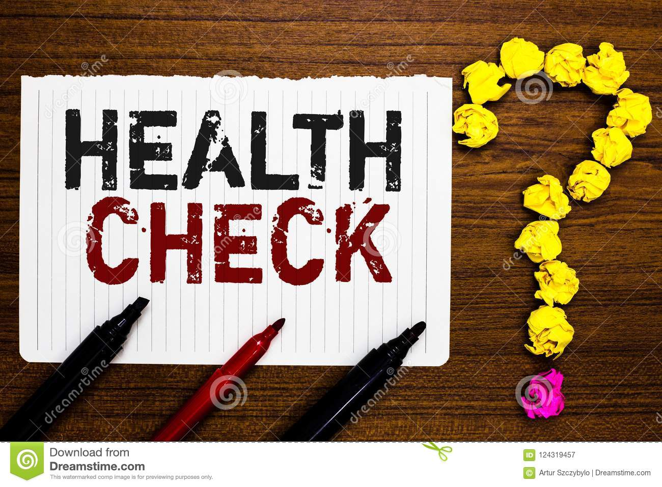 Handwriting Text Writing Health Check Concept Meaning