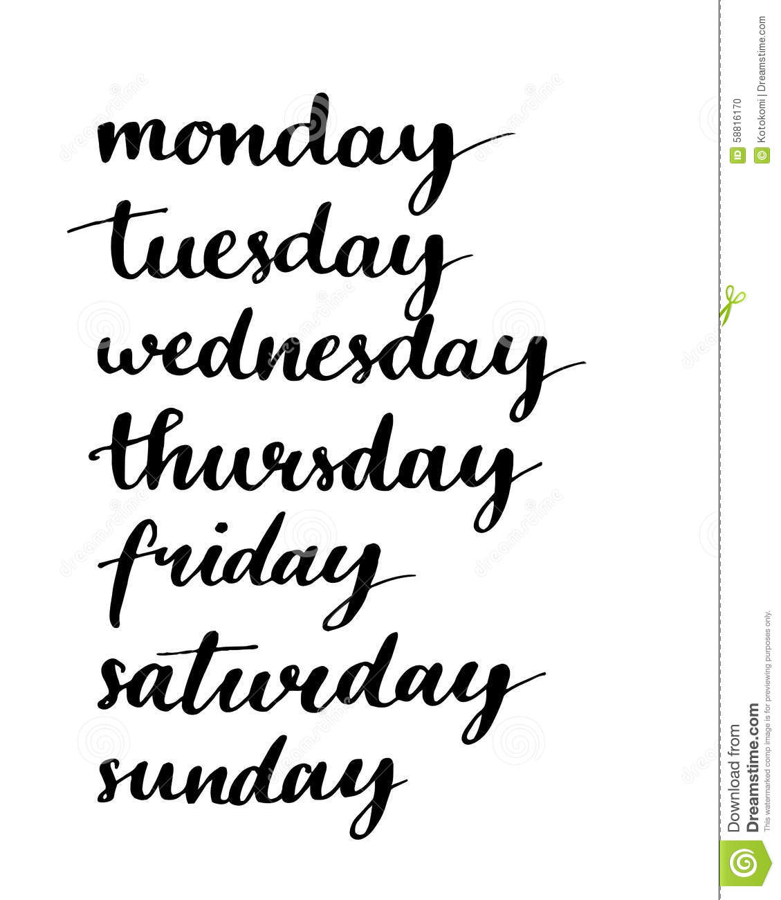 Handwritten Days Of The Week Black Ink Stock Vector
